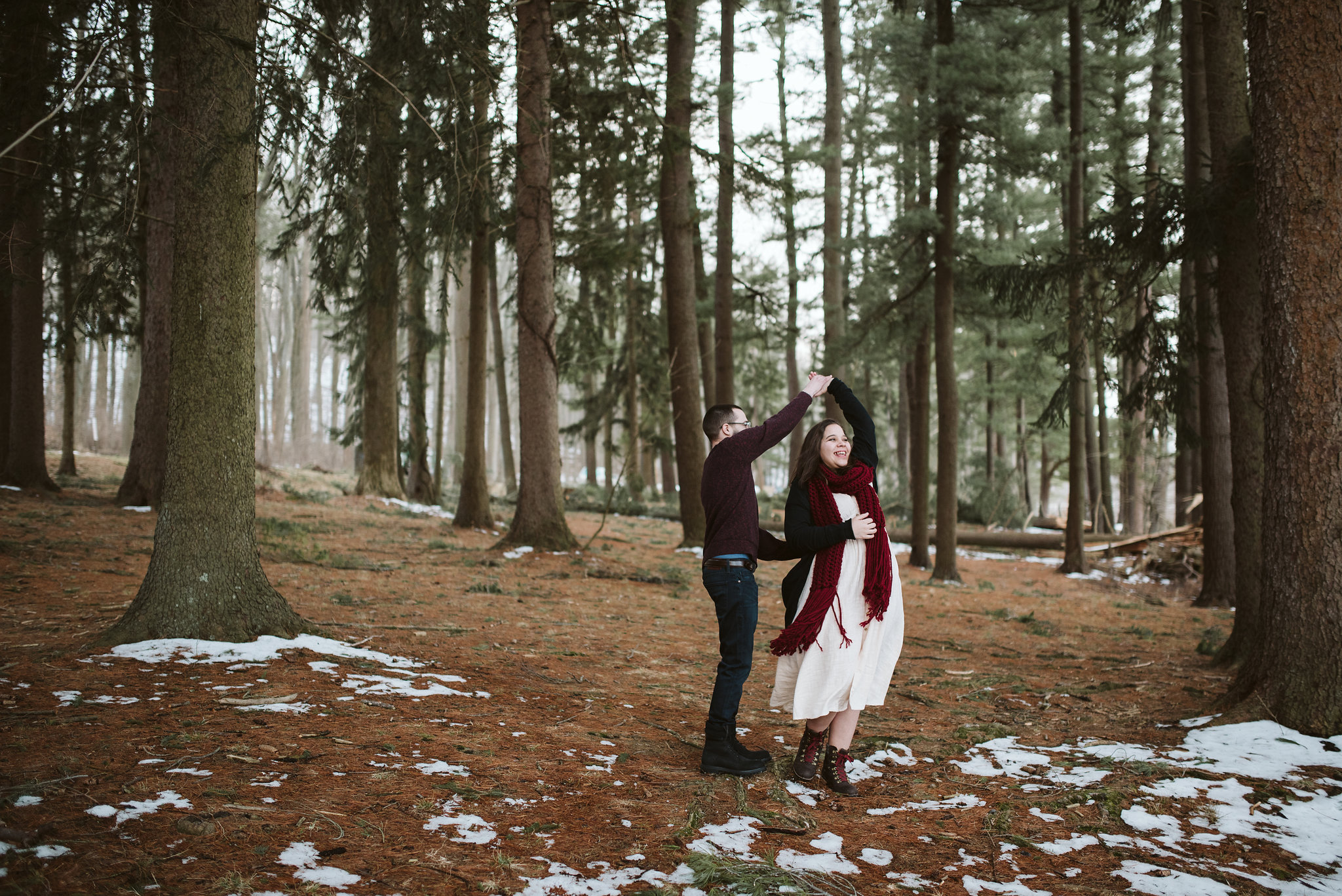 Baltimore County, Loch Raven Reservoir, Maryland Wedding Photographer, Winter, Engagement Photos, Nature, Romantic, Clean and Classic, Bride and Groom Dancing in Woods on Cold Spring Morning