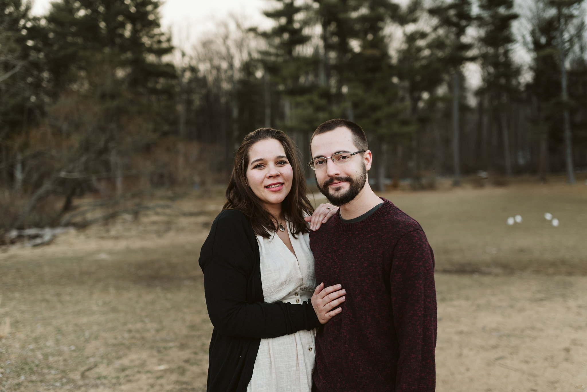 Baltimore County, Loch Raven Reservoir, Maryland Wedding Photographer, Winter, Engagement Photos, Nature, Romantic, Clean and Classic, Portrait of Bride and Groom, Laid Back