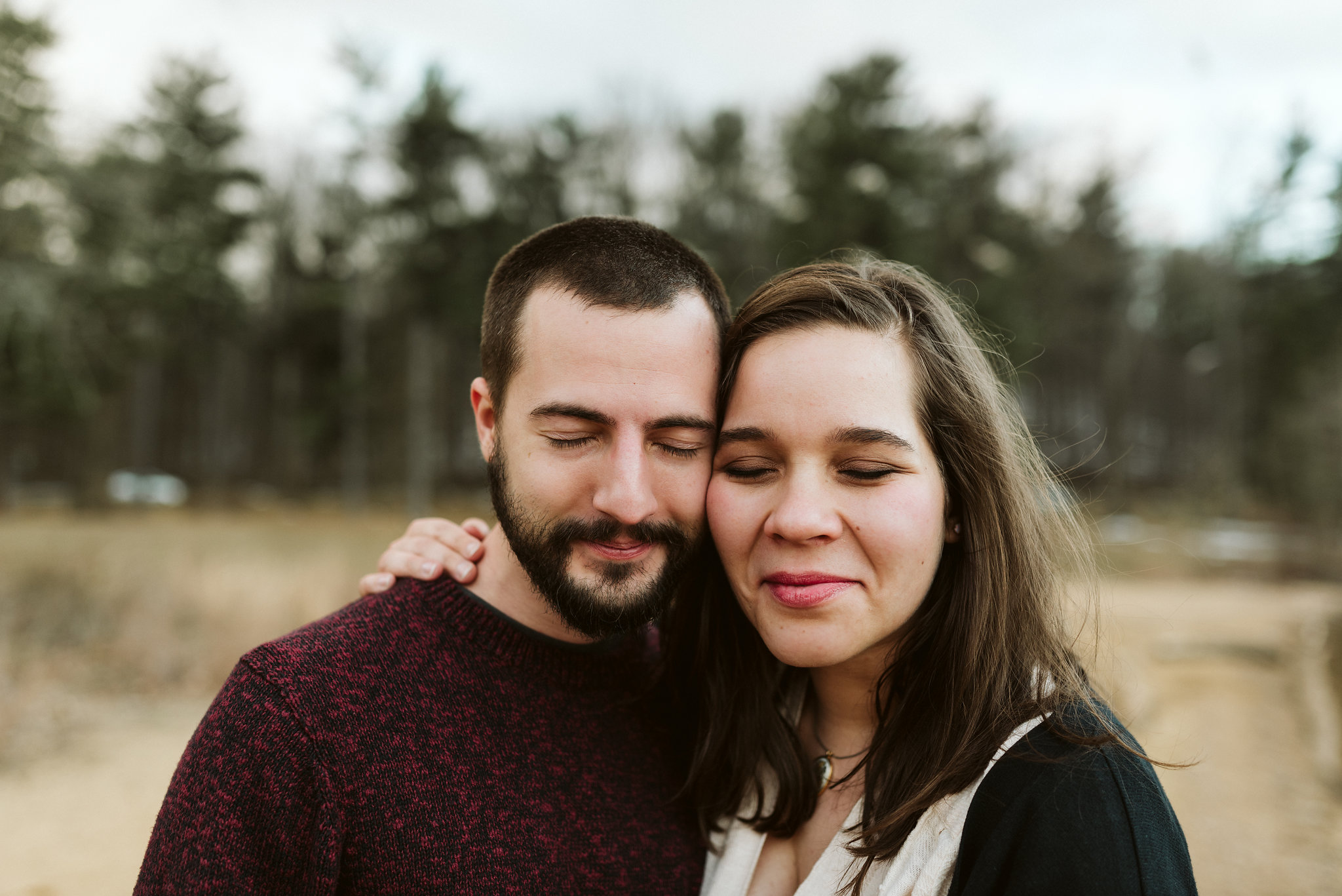 Baltimore County, Loch Raven Reservoir, Maryland Wedding Photographer, Winter, Engagement Photos, Nature, Romantic, Clean and Classic, Bride and Groom Side by Side with Their Eyes Closed