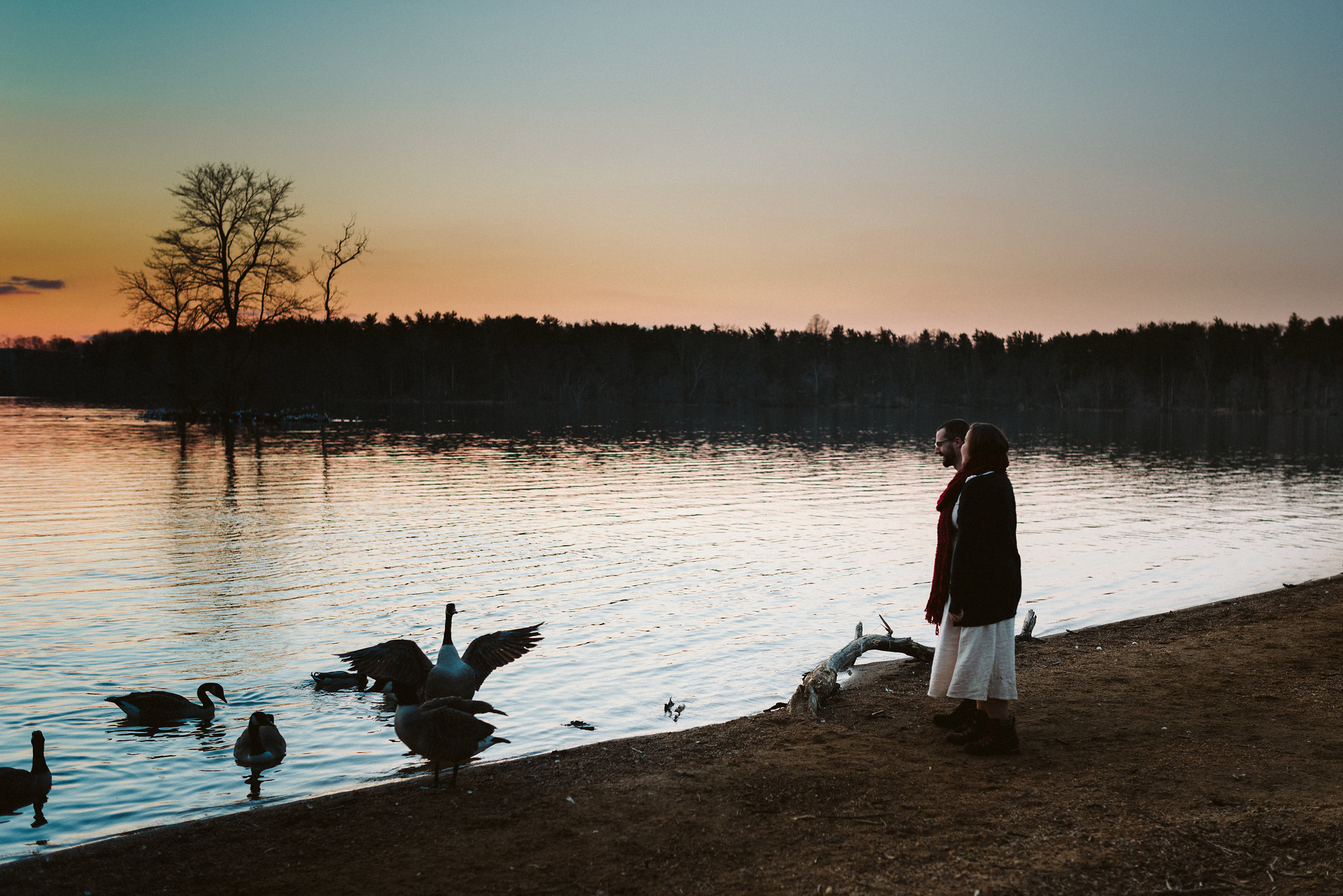 Baltimore County, Loch Raven Reservoir, Maryland Wedding Photographer, Winter, Engagement Photos, Nature, Romantic, Classic, Bride and Groom Standing Along Water During Sunset, Soft Colors, Wildlife