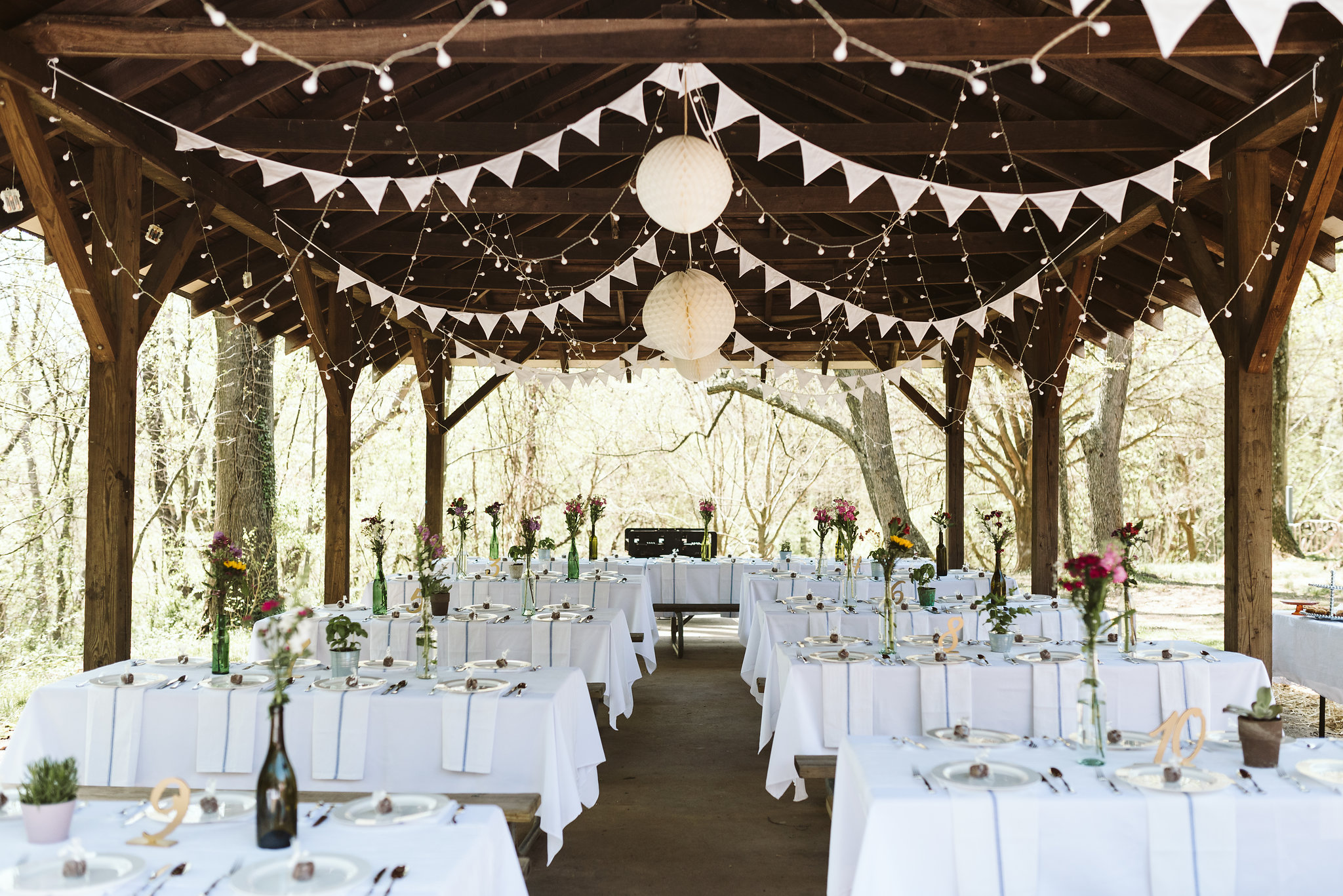 Spring Outdoor Wedding, Park, Baltimore Wedding Photographer, DIY, Classic, Upcycled, Garden Party, Romantic, Reception Decor, White Bunting and Twinkle Lights