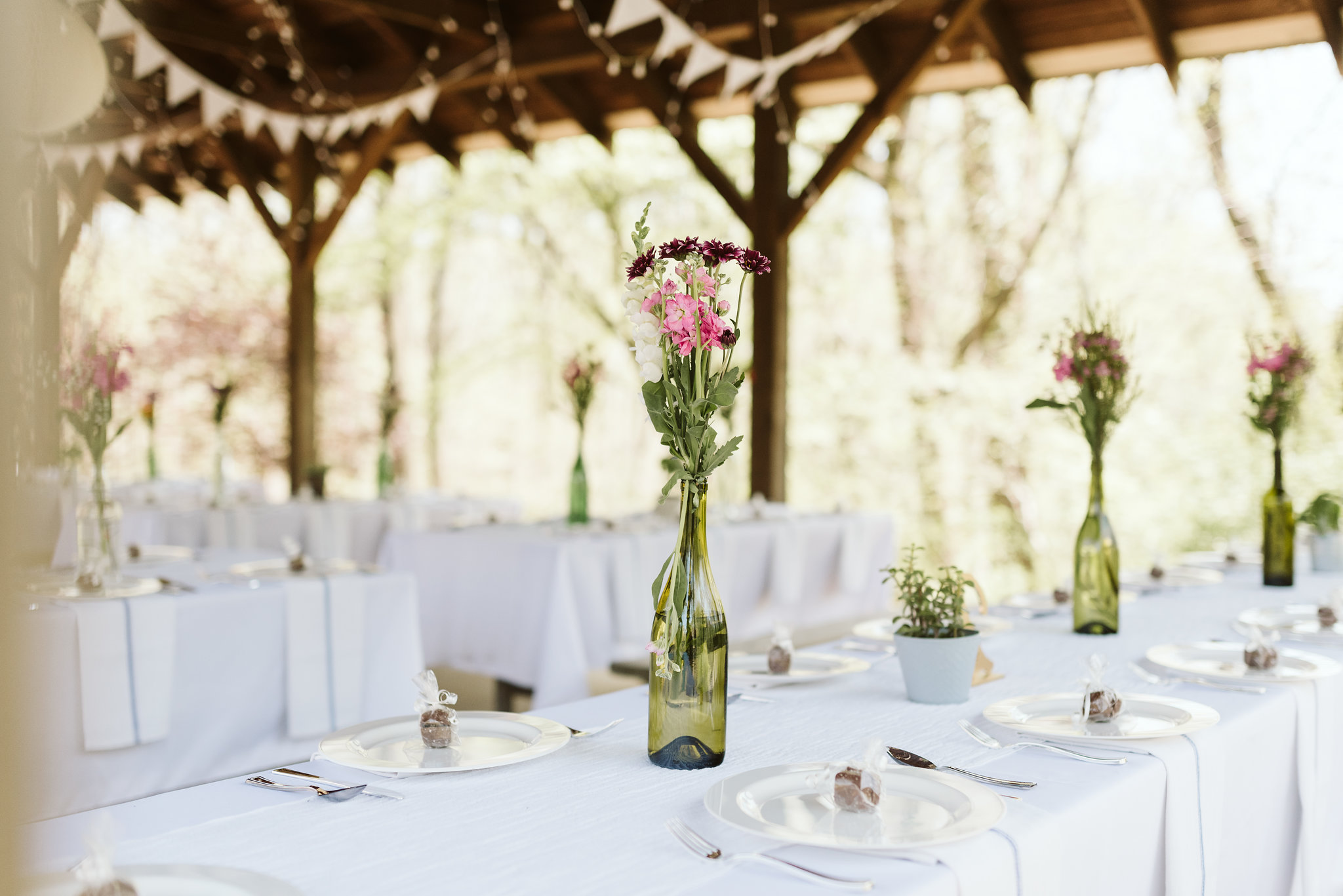 Spring Outdoor Wedding, Park, Baltimore Wedding Photographer, DIY, Classic, Upcycled, Garden Party, Romantic, Wine Bottle Centerpieces, Wildflowers
