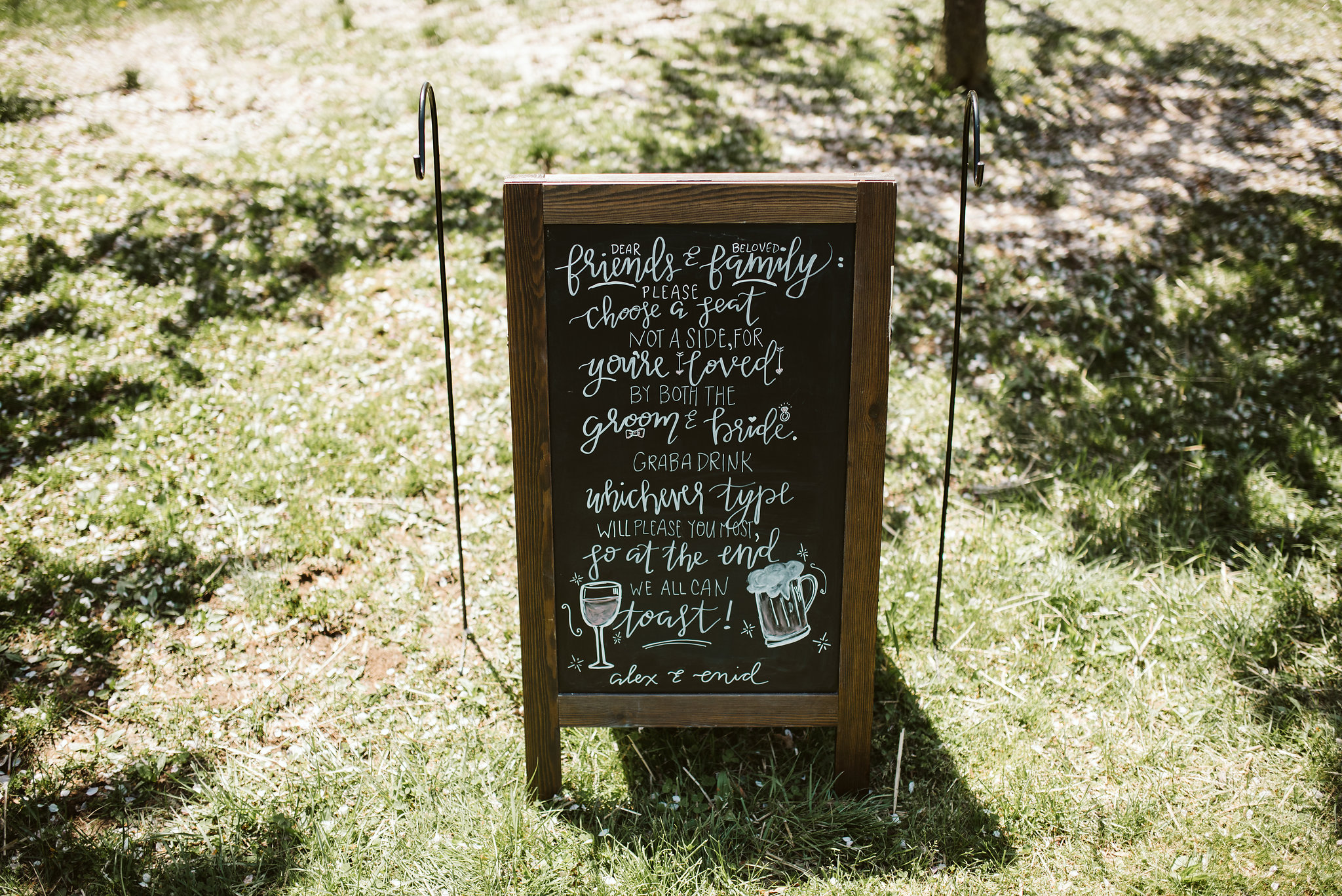 Spring Outdoor Wedding, Park, Baltimore Wedding Photographer, DIY, Classic, Upcycled, Garden Party, Romantic, Handmade Signage at Reception