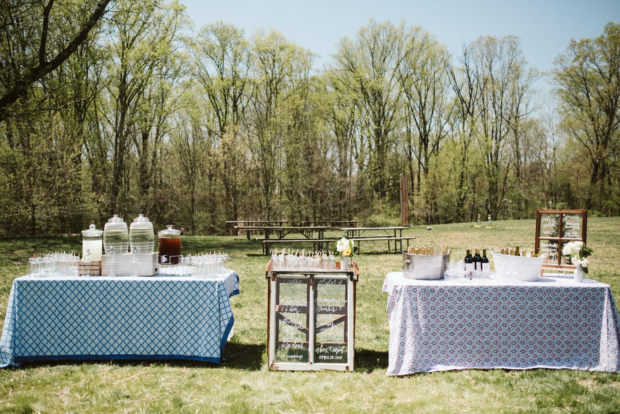 Spring Outdoor Wedding, Park, Baltimore Wedding Photographer, DIY, Classic, Upcycled, Garden Party, Romantic, Homemade Drinks Bar