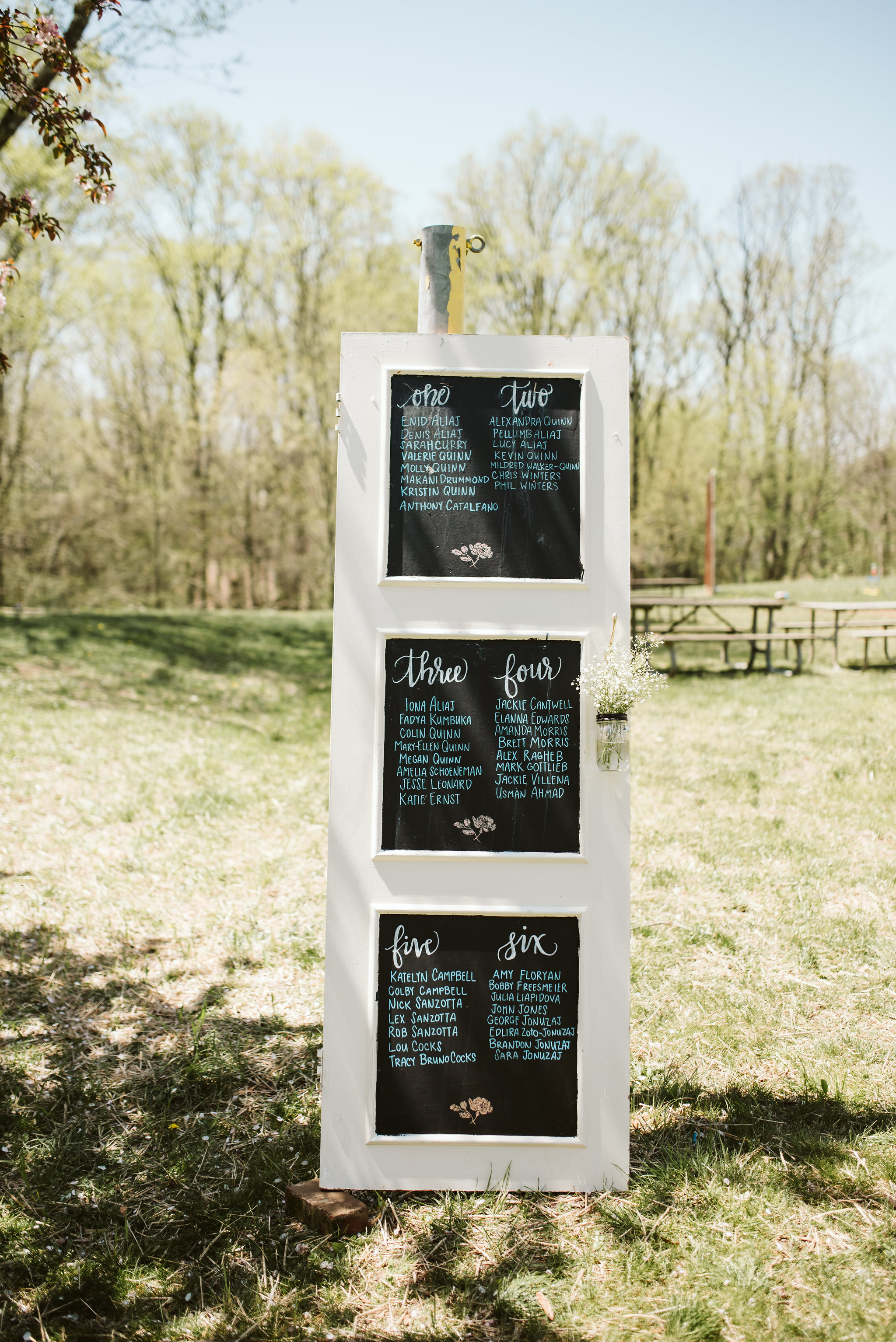 Spring Outdoor Wedding, Park, Baltimore Wedding Photographer, DIY, Classic, Upcycled, Garden Party, Romantic,  Handmade Seating Chart, Chalkboard Paint
