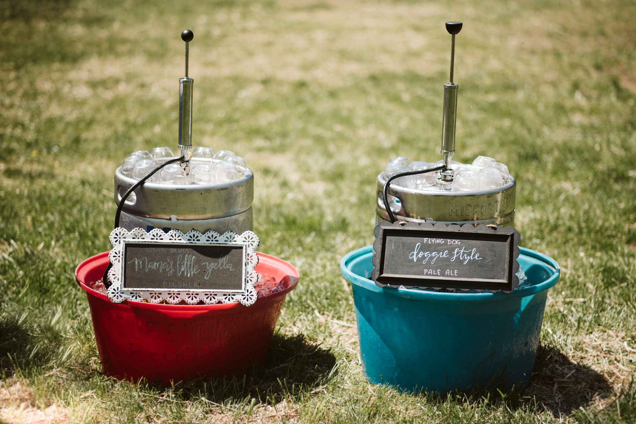 Spring Outdoor Wedding, Park, Baltimore Wedding Photographer, DIY, Classic, Upcycled, Garden Party, Romantic, Kegs with Handmade Signs, Local Craft Beer, Reception Decor