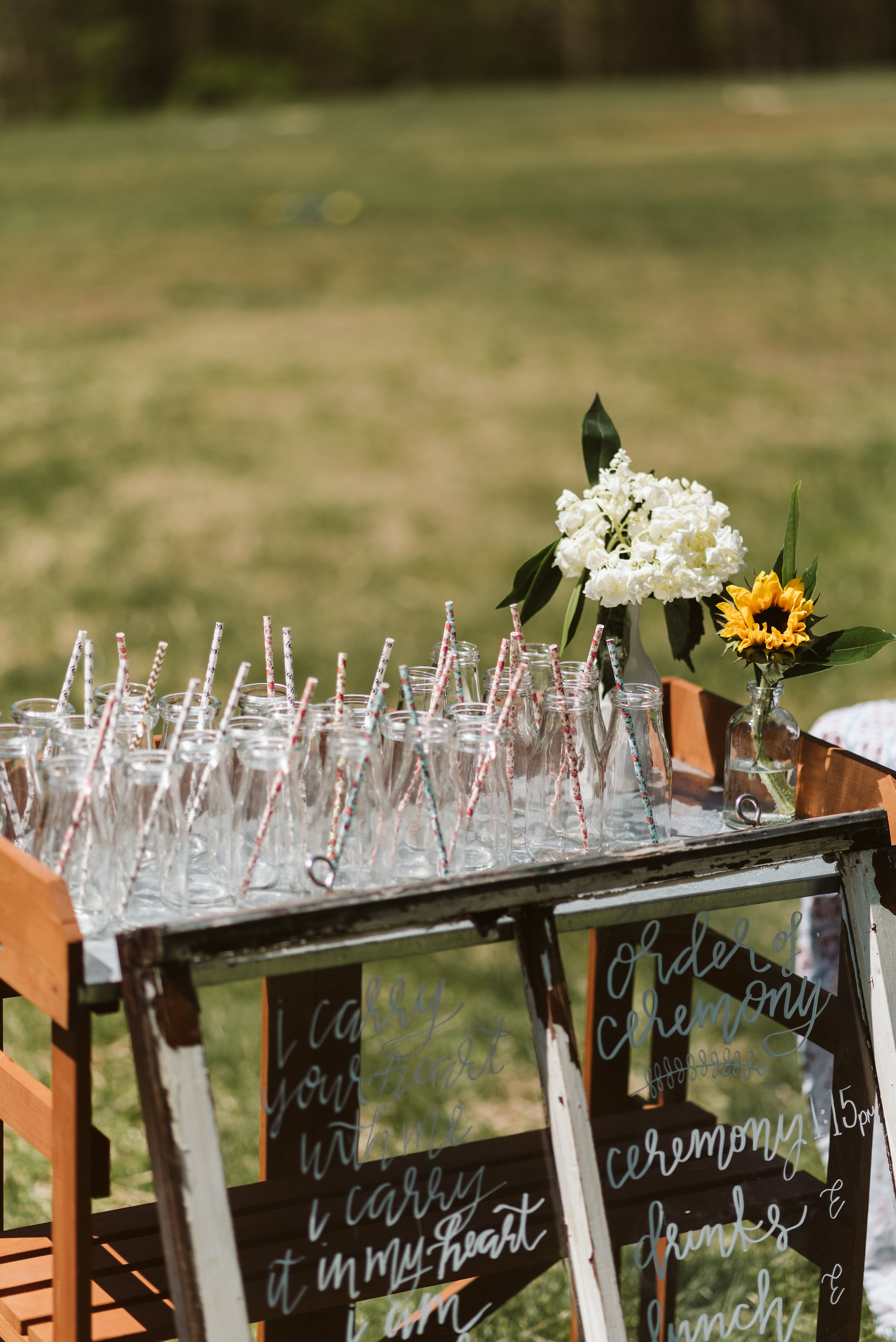 Spring Outdoor Wedding, Park, Baltimore Wedding Photographer, DIY, Classic, Upcycled, Garden Party, Romantic, Handmade Drinks Bar, Glass Jars and Paper Straws