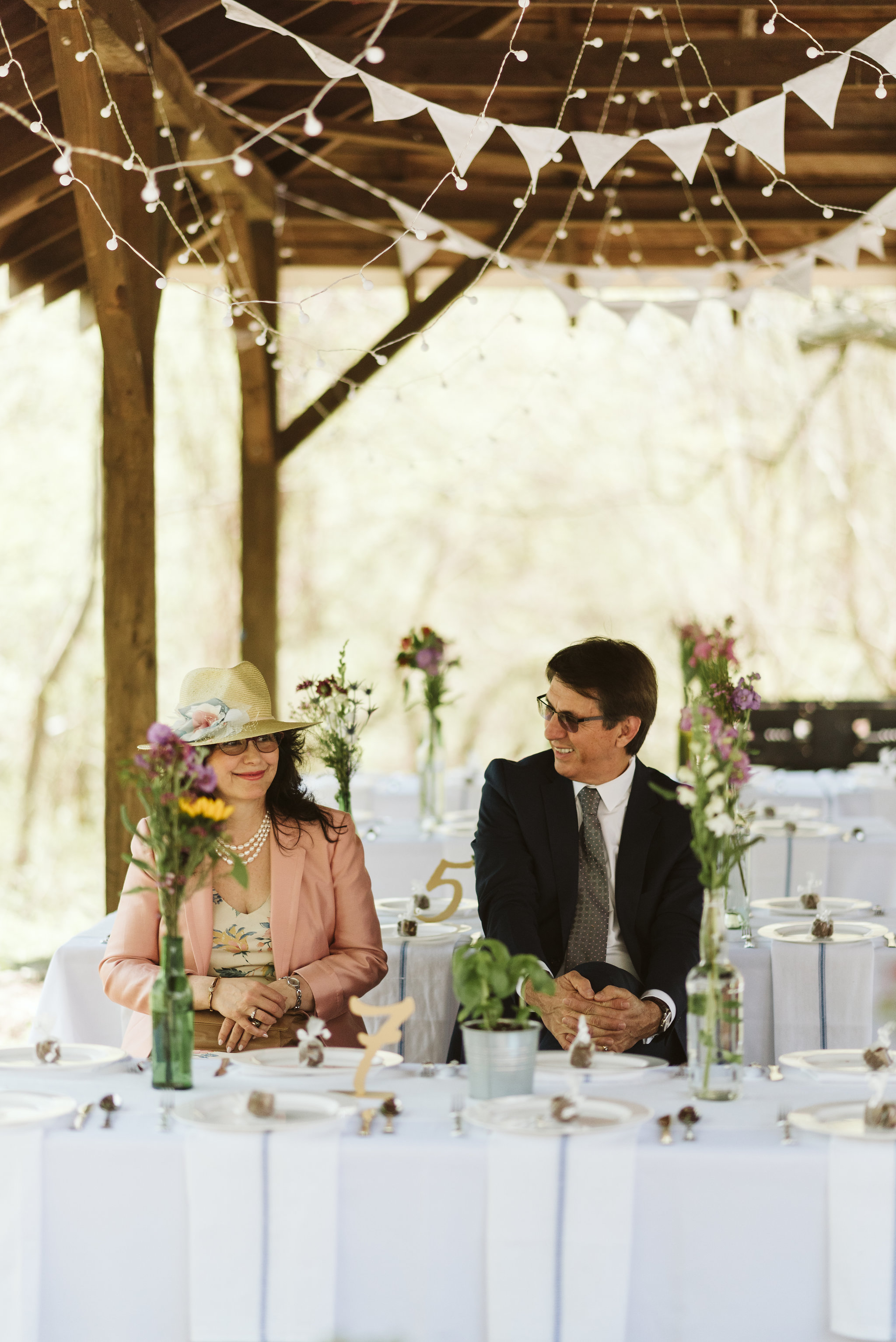 Spring Outdoor Wedding, Park, Baltimore Wedding Photographer, DIY, Classic, Upcycled, Garden Party, Romantic, Guests Gathering at Reception Tables, Wildflowers as Centerpieces