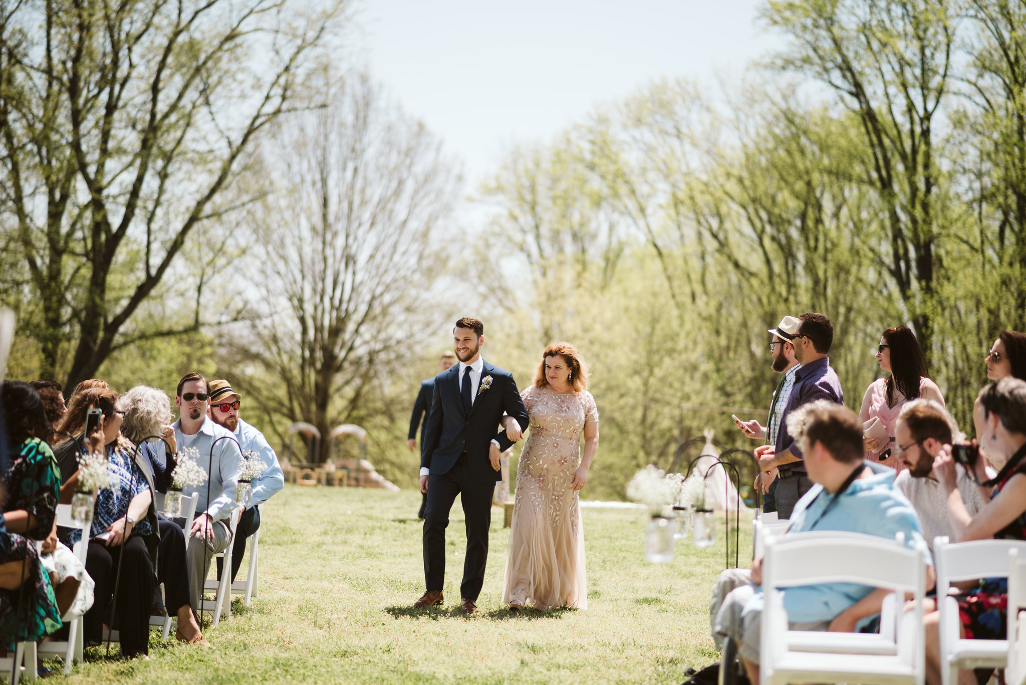 Spring Outdoor Wedding, Park, Baltimore Wedding Photographer, DIY, Classic, Upcycled, Garden Party, Romantic, Groom Walking Down Aisle, Sunshine