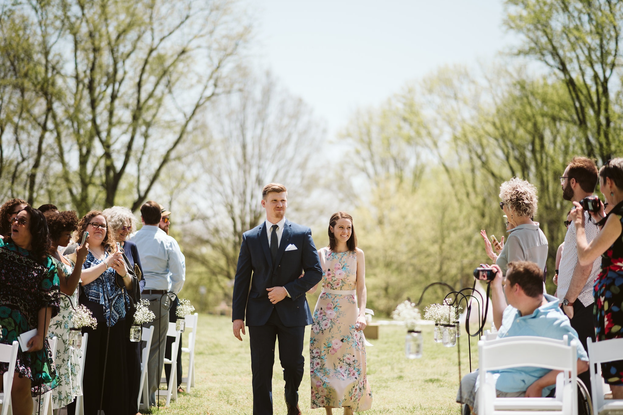 Spring Outdoor Wedding, Park, Baltimore Wedding Photographer, DIY, Classic, Upcycled, Garden Party, Romantic, Wedding Party Walking Down the Aisle, Sunny Day