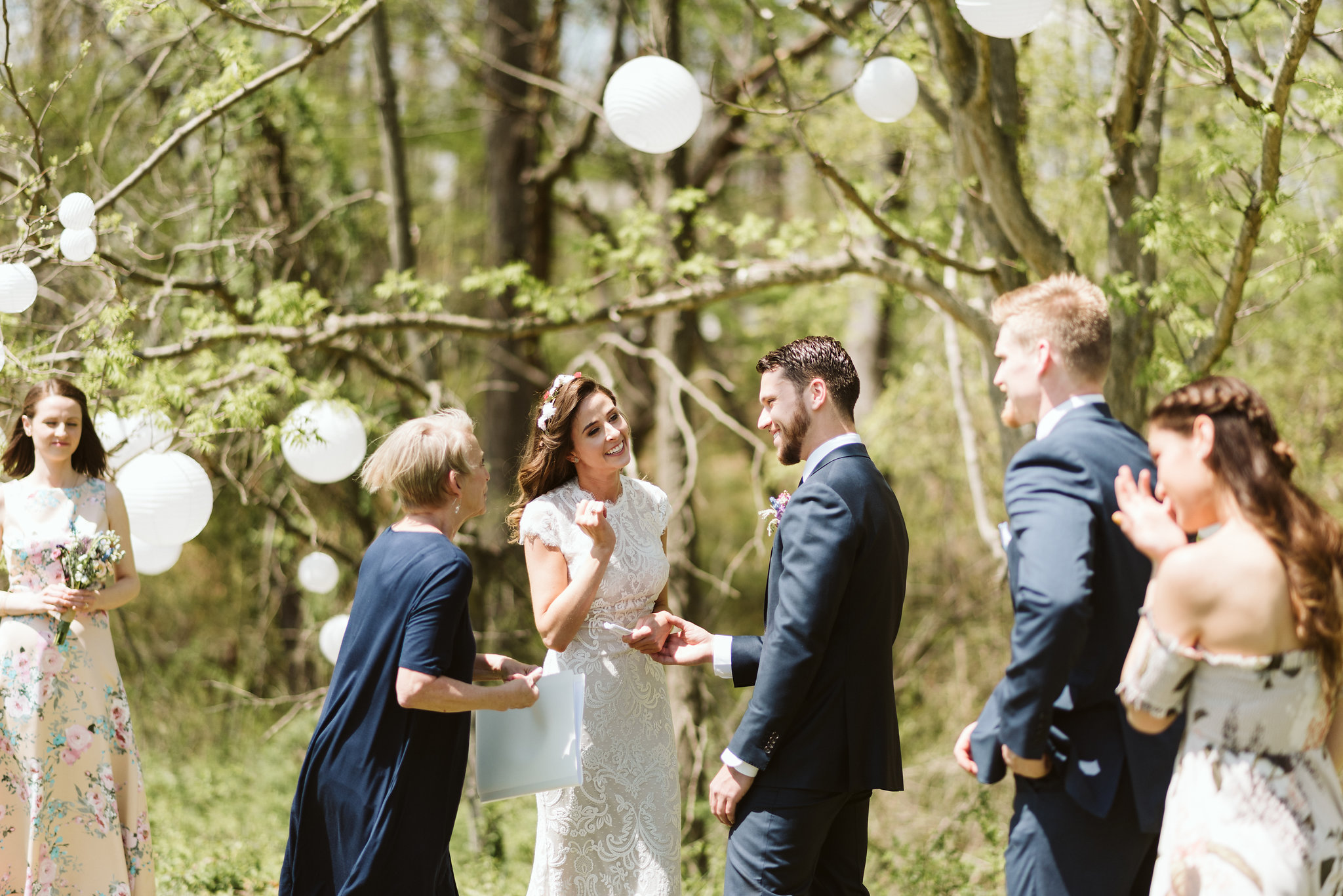 Spring Outdoor Wedding, Park, Baltimore Wedding Photographer, DIY, Classic, Upcycled, Garden Party, Romantic, Bride and Groom Exchanging Vows, The Wedding ProOfficiant, BHLDN Dress