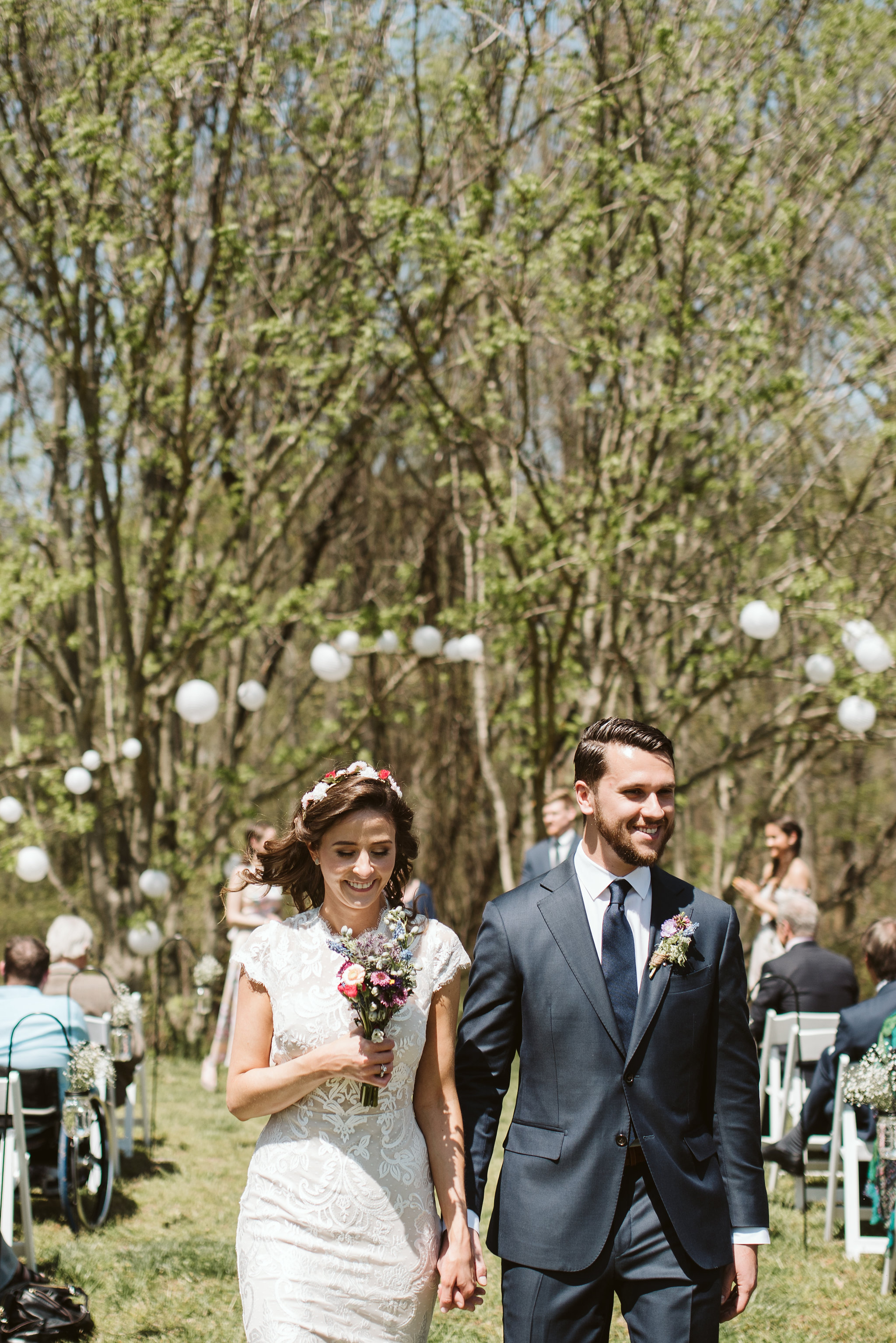 Spring Outdoor Wedding, Park, Baltimore Wedding Photographer, DIY, Classic, Upcycled, Garden Party, Romantic, Bride and Groom Just Married, Wildflowers, Flower Crown, Suit Supply, BHLDN Dress, Nordstrom Rack Tie