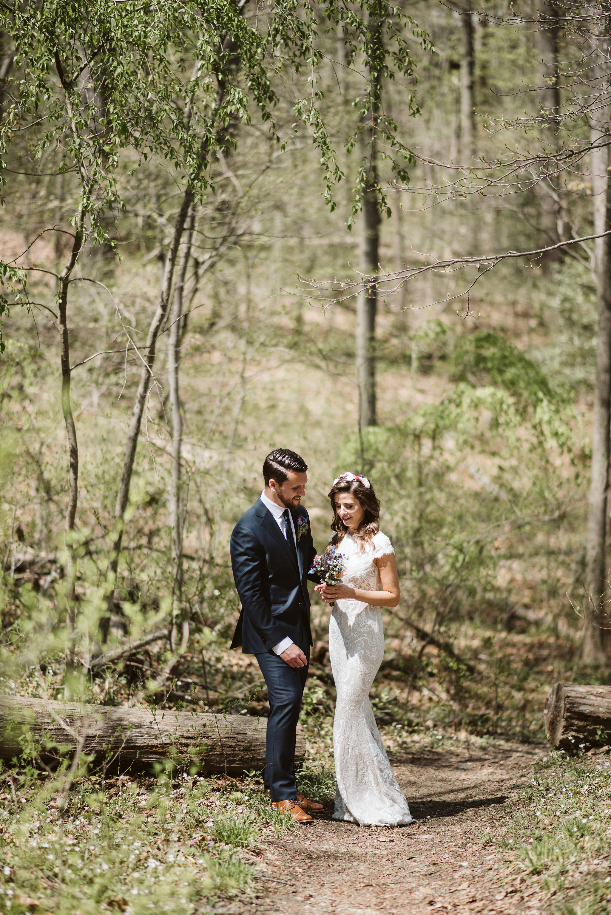 Spring Outdoor Wedding, Park, Baltimore Wedding Photographer, DIY, Classic, Upcycled, Garden Party, Romantic, Bride and Groom Laughing Together, BHLDN Wedding Dress, Just Married, Wildflowers