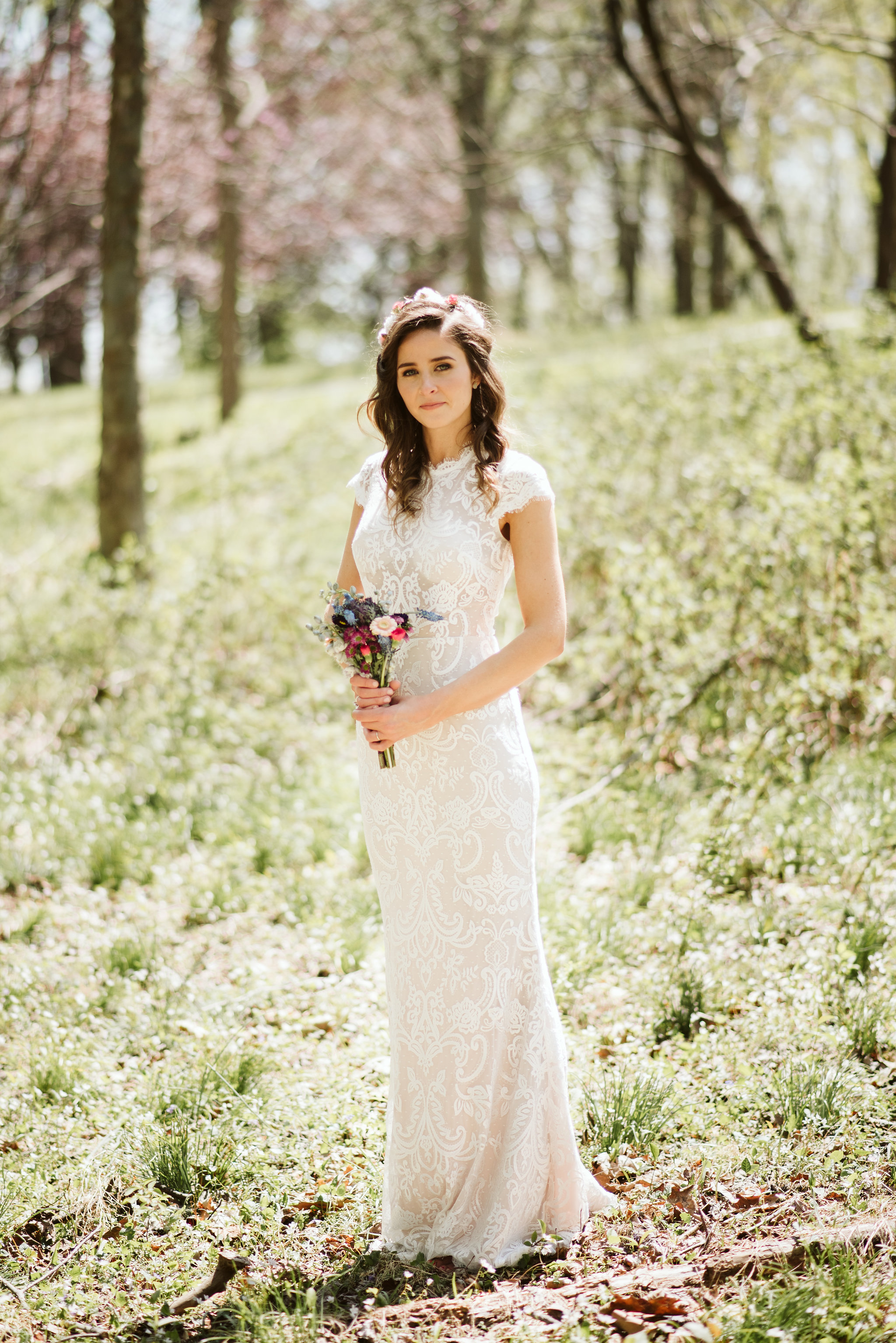 Spring Outdoor Wedding, Park, Baltimore Wedding Photographer, DIY, Classic, Upcycled, Garden Party, Romantic, Portrait of Bride Outside, BHLDN Dress, Glamsquad Hair, Wildflowers