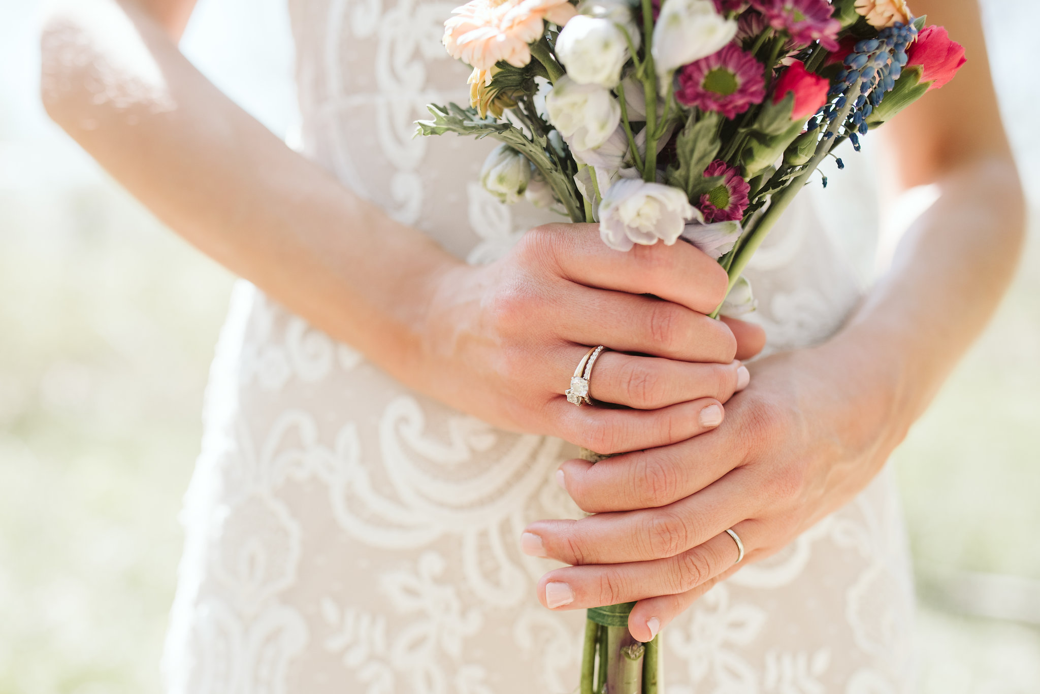 Spring Outdoor Wedding, Park, Baltimore Wedding Photographer, DIY, Classic, Upcycled, Garden Party, Romantic, Closeup of Bride's Rings, Purple and White Wildflowers