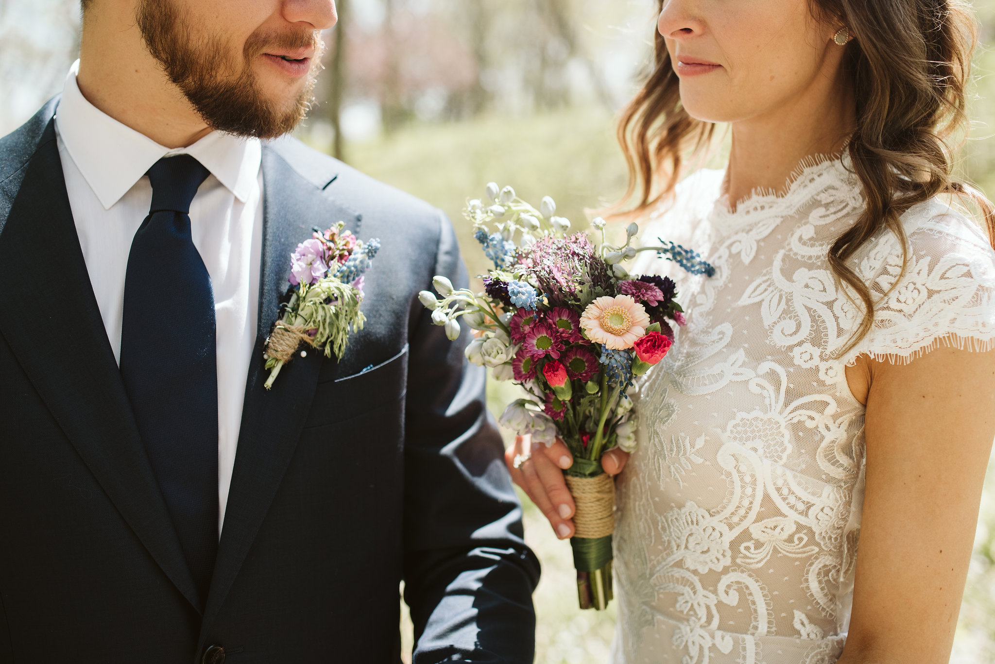 Spring Outdoor Wedding, Park, Baltimore Wedding Photographer, DIY, Classic, Upcycled, Garden Party, Romantic, Bride and Groom Standing Together, Wedding Flowers, Wildflowers, Nordstrom Rack Tie