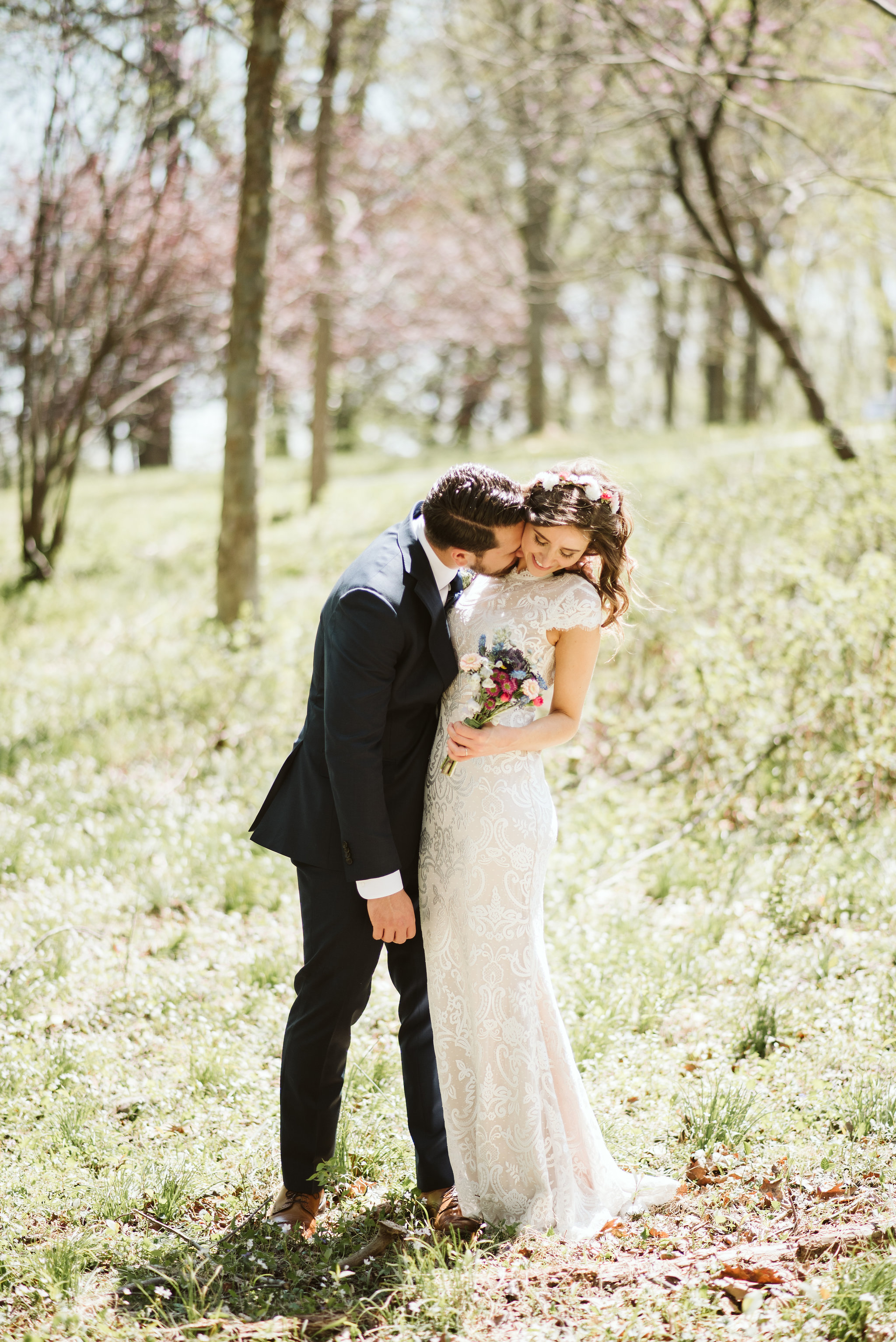Spring Outdoor Wedding, Park, Baltimore Wedding Photographer, DIY, Classic, Upcycled, Garden Party, Romantic, Sweet Photo of Bride and Groom Being Playful