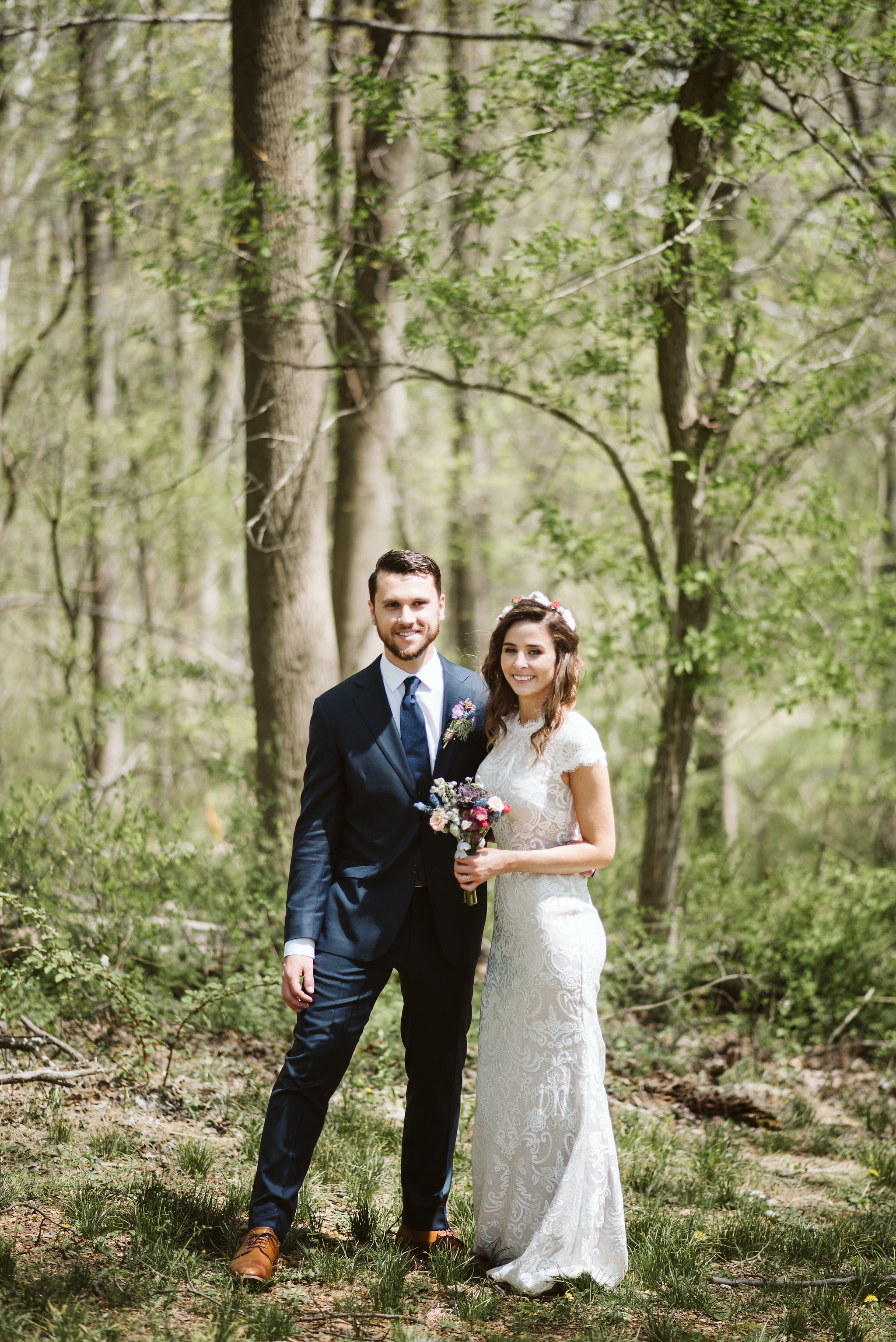 Spring Outdoor Wedding, Park, Baltimore Wedding Photographer, DIY, Classic, Upcycled, Garden Party, Romantic, Portrait of Bride and Groom in the Forest, Wildflowers, BHLDN Wedding Dress