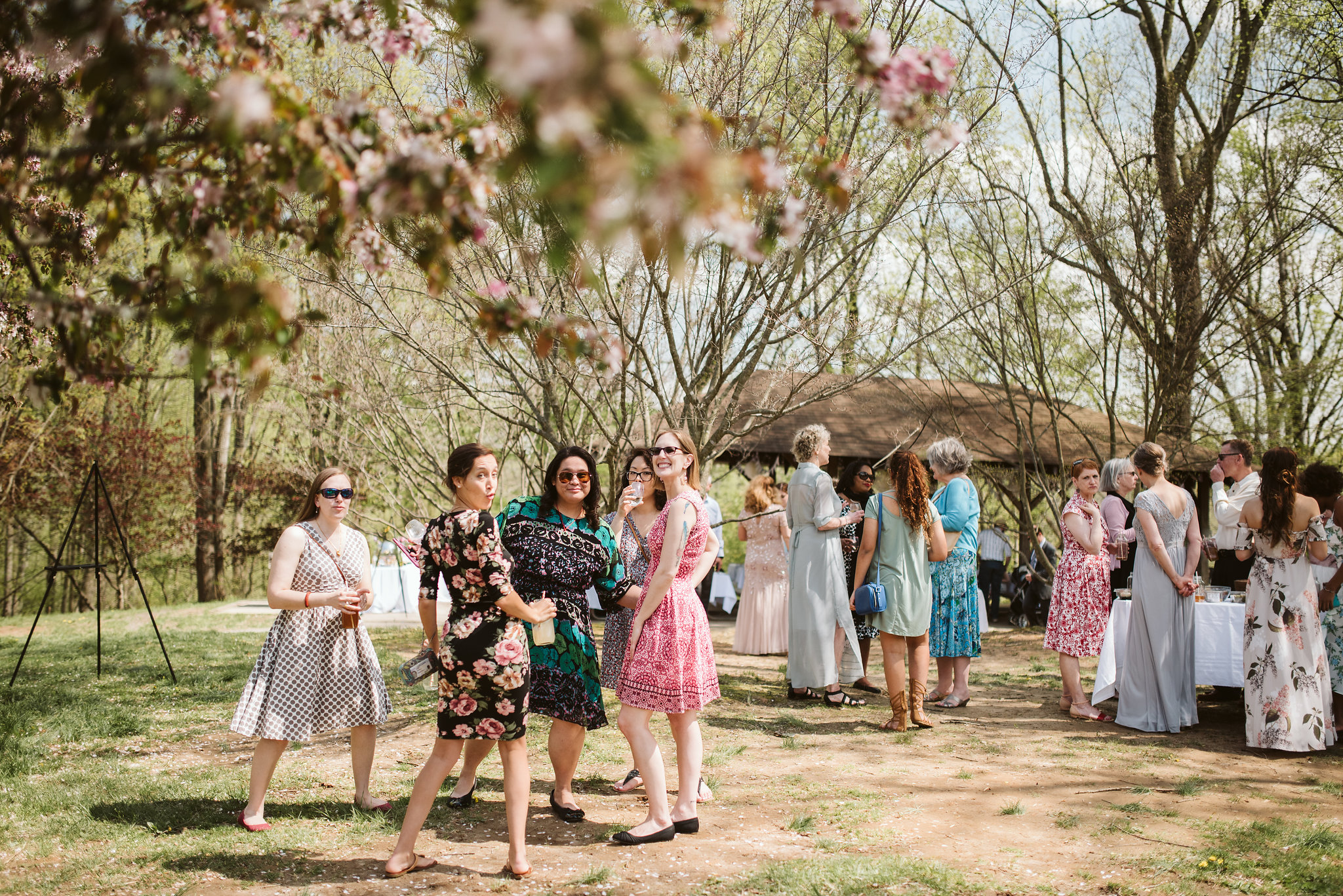 Spring Outdoor Wedding, Park, Baltimore Wedding Photographer, DIY, Classic, Upcycled, Garden Party, Romantic, Friends Having Fun at Reception