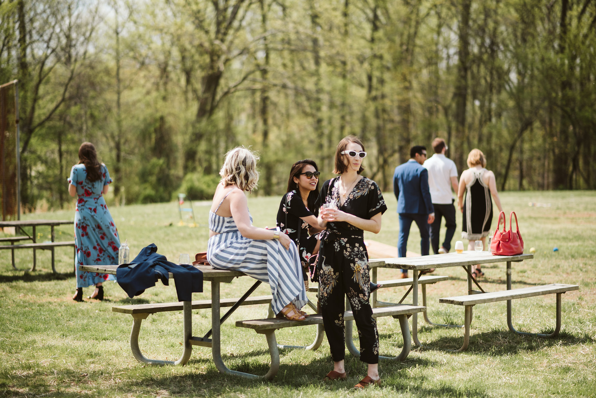 Spring Outdoor Wedding, Park, Baltimore Wedding Photographer, DIY, Classic, Upcycled, Garden Party, Romantic, Wedding Guests at Picnic Table