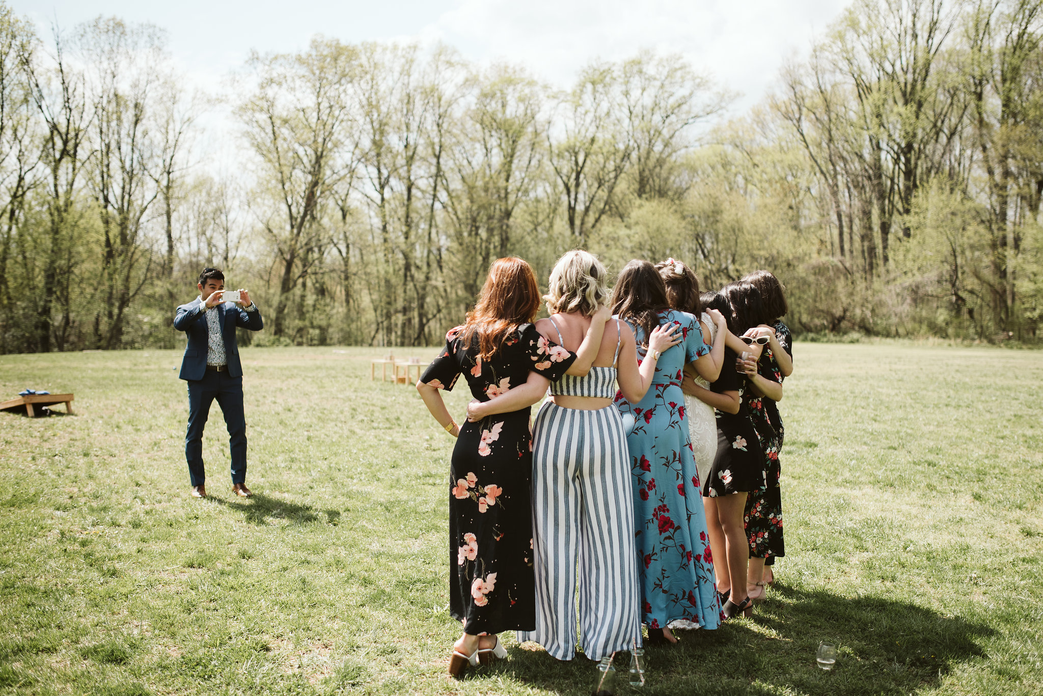 Spring Outdoor Wedding, Park, Baltimore Wedding Photographer, DIY, Classic, Upcycled, Garden Party, Romantic, Friends Gathered for a Photo, Photo of a Photo