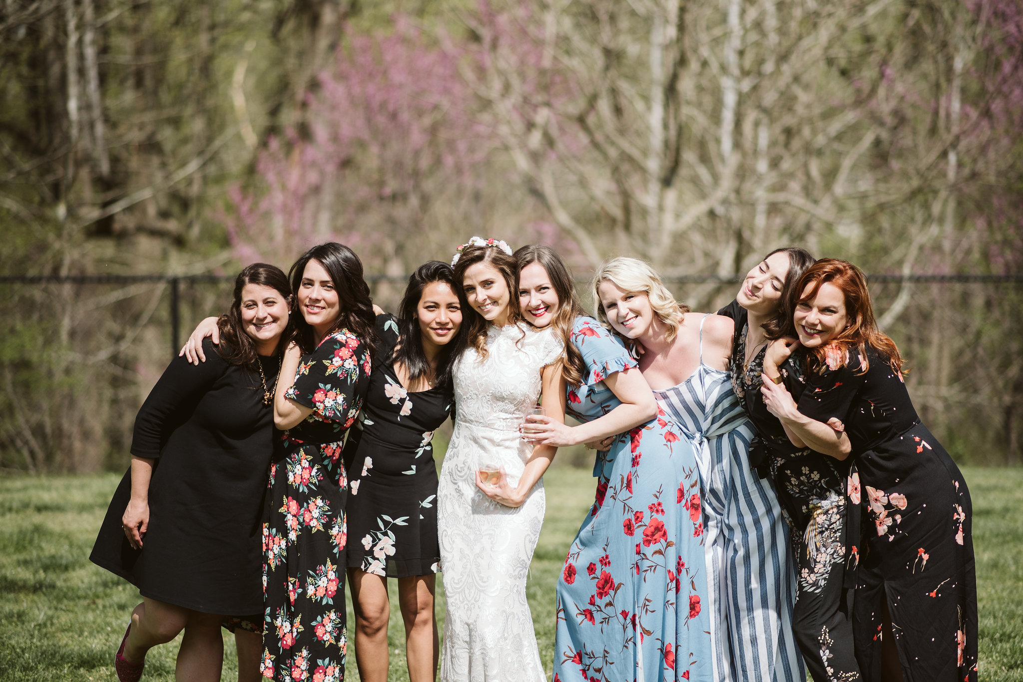 Spring Outdoor Wedding, Park, Baltimore Wedding Photographer, DIY, Classic, Upcycled, Garden Party, Romantic, Cute Photo of Bride with Friends, BHLDN Wedding Dress