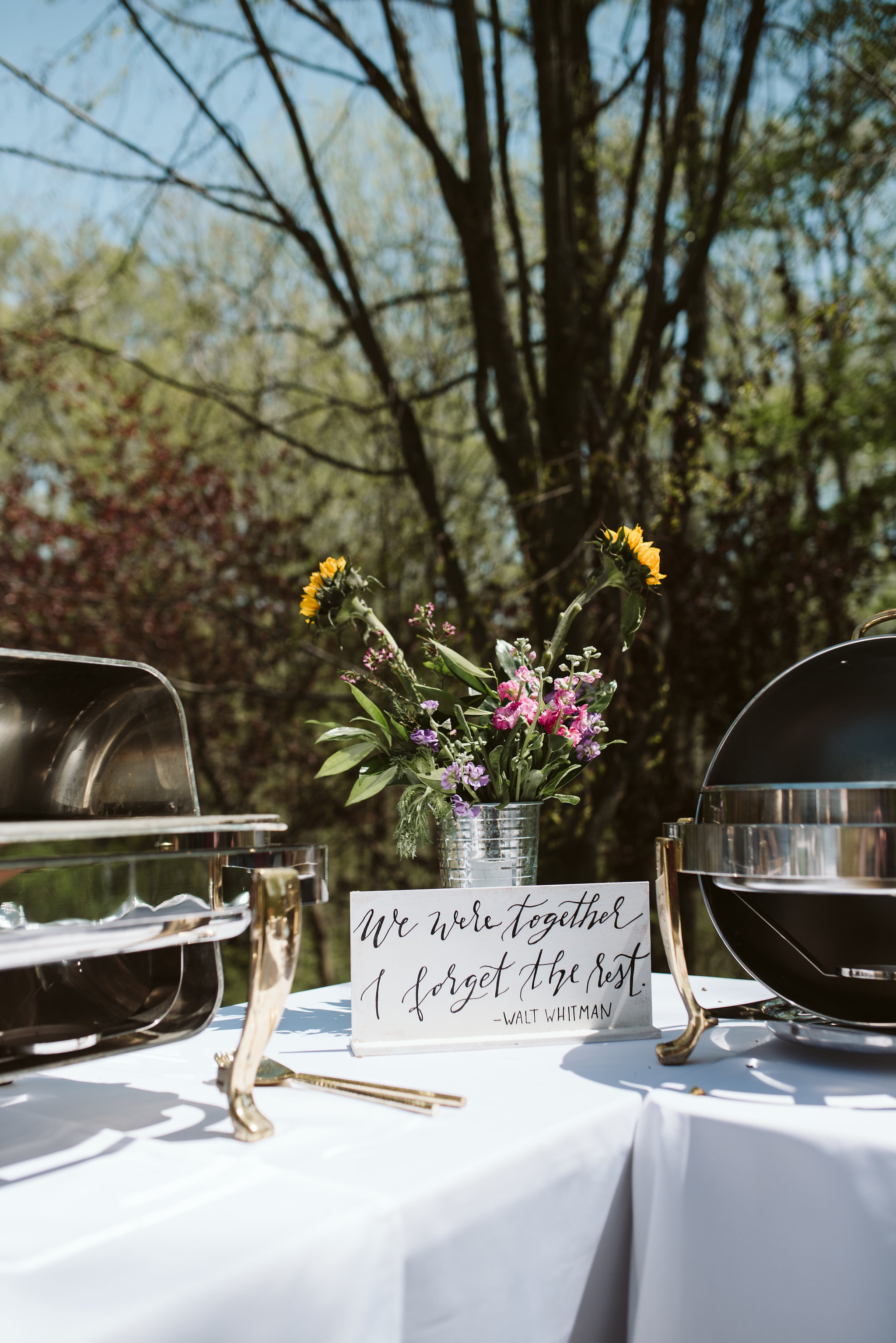 Spring Outdoor Wedding, Park, Baltimore Wedding Photographer, DIY, Classic, Upcycled, Garden Party, Romantic, Reception Decor, Handmade Signage, Walt Whitman Quote