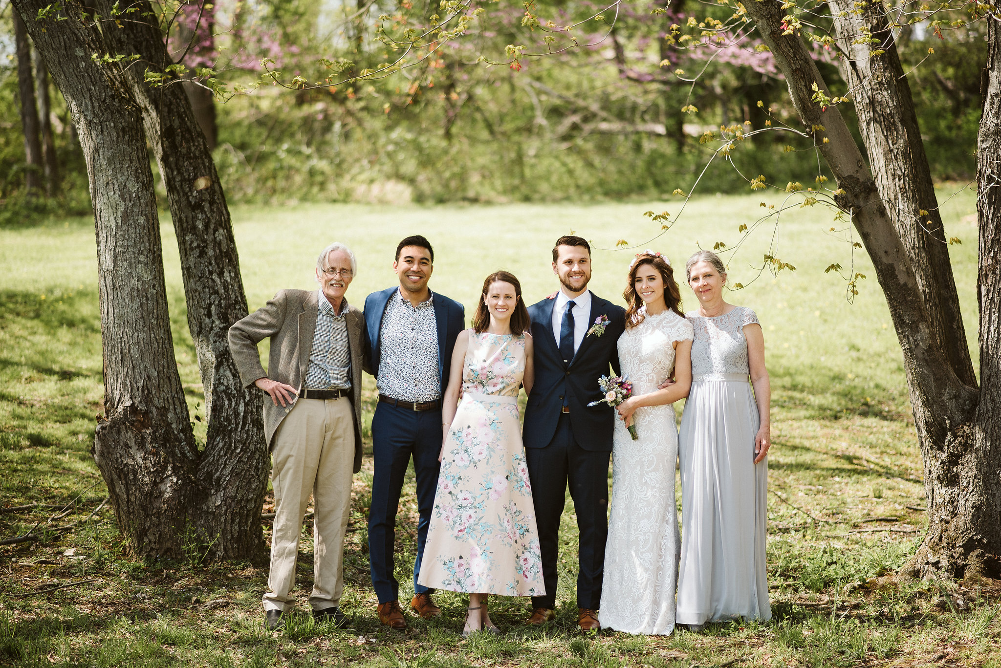 Spring Outdoor Wedding, Park, Baltimore Wedding Photographer, DIY, Classic, Upcycled, Garden Party, Romantic, Portrait of Bride and Groom with Family, BHLDN Wedding Dress, Suit Supply