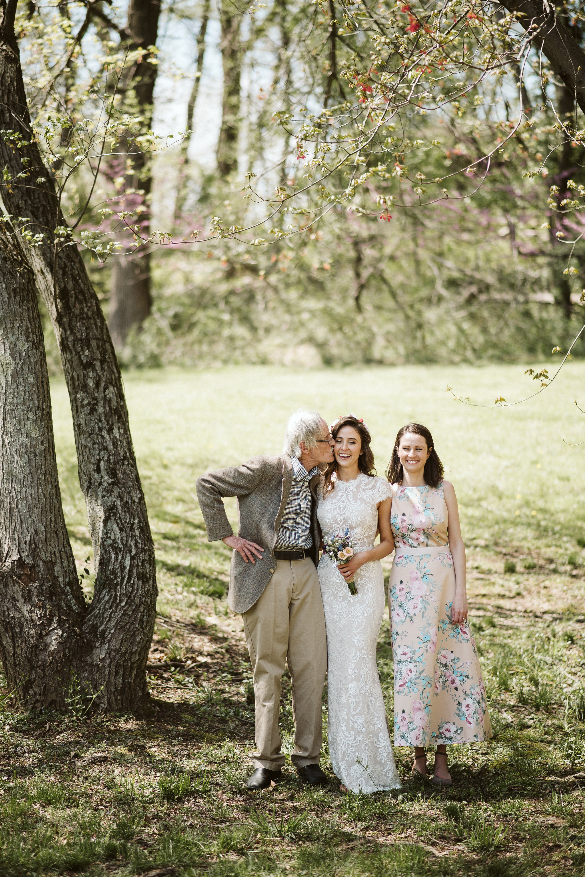 Spring Outdoor Wedding, Park, Baltimore Wedding Photographer, DIY, Classic, Upcycled, Garden Party, Romantic, Portrait of Bride with Family, BHLDN Wedding Dress