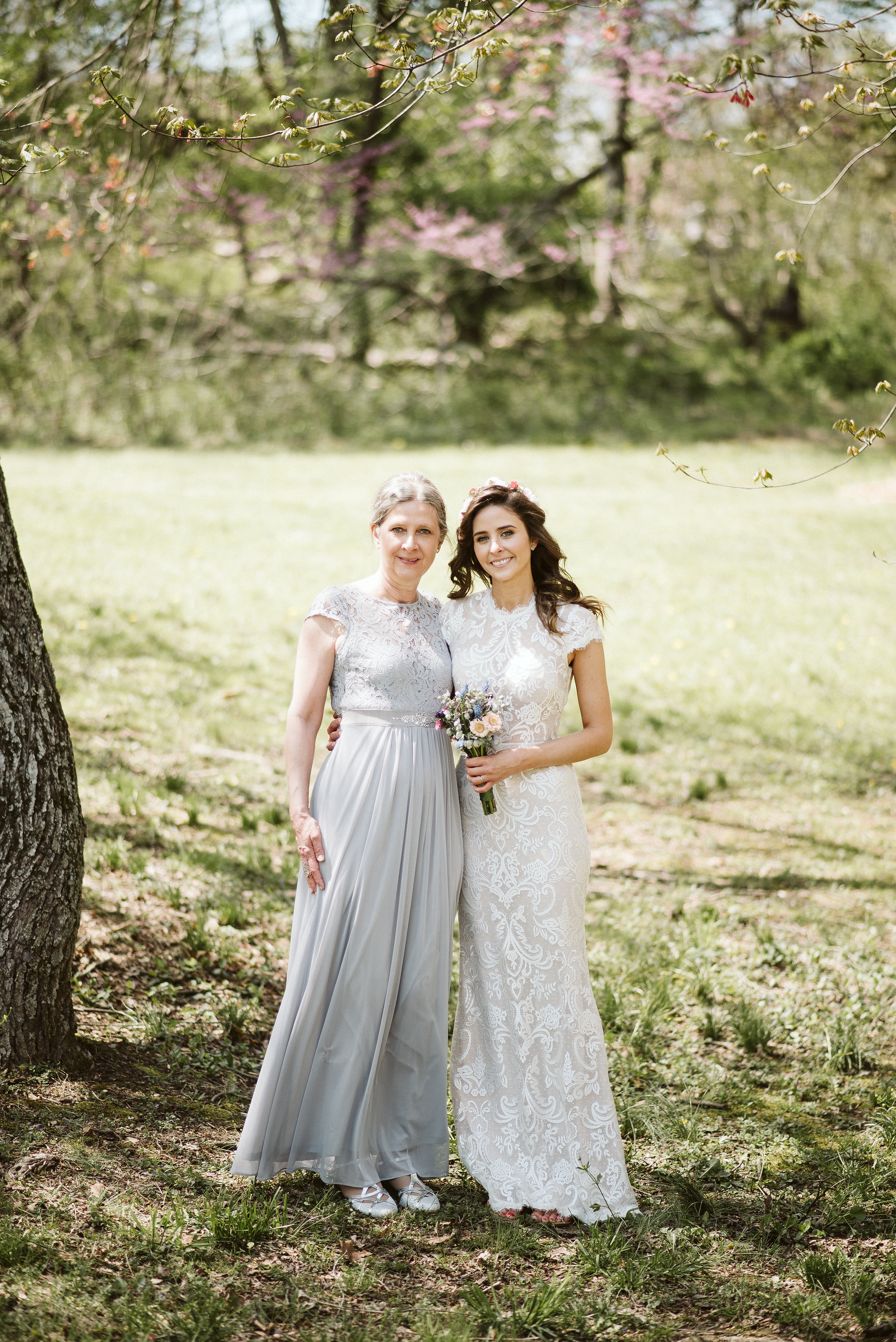 Spring Outdoor Wedding, Park, Baltimore Wedding Photographer, DIY, Classic, Upcycled, Garden Party, Romantic, Portrait of Bride with Mother of the Bride, BHLDN Wedding Dress, Flower Crown