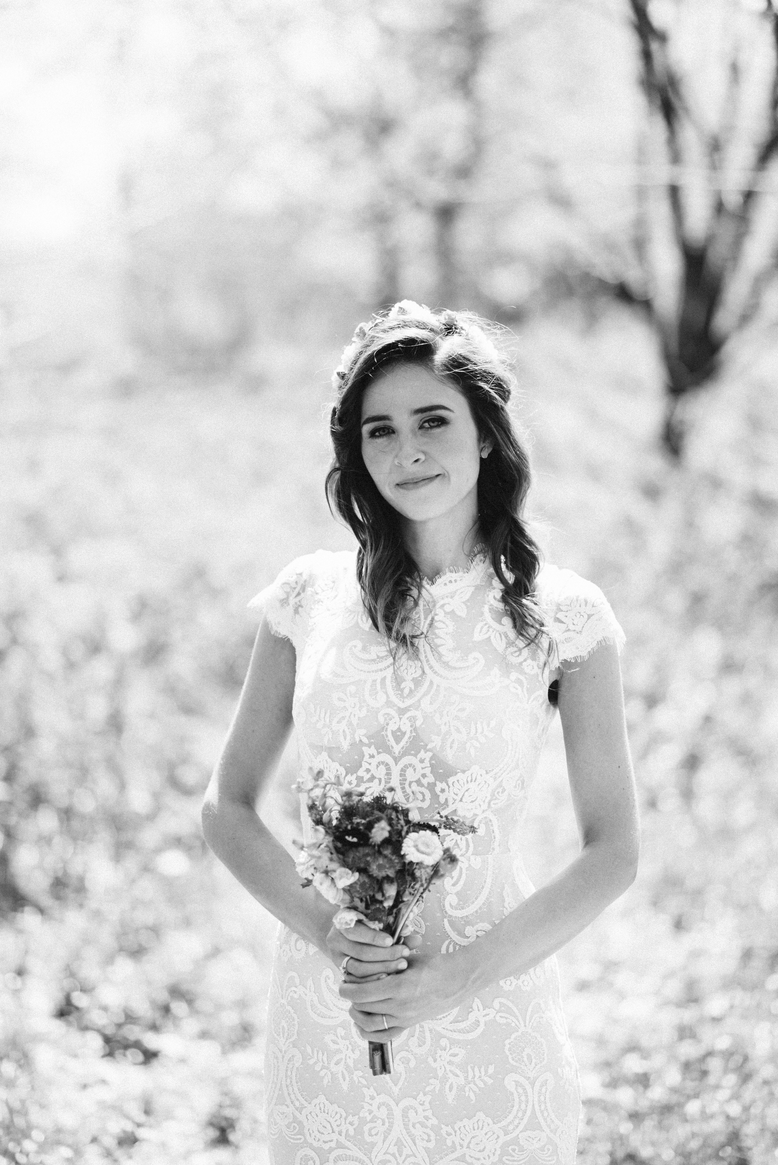 Spring Outdoor Wedding, Park, Baltimore Wedding Photographer, DIY, Classic, Upcycled, Garden Party, Romantic, Portrait of Bride, BHLDN Dress, Black and White Photo, Glamquad Hair