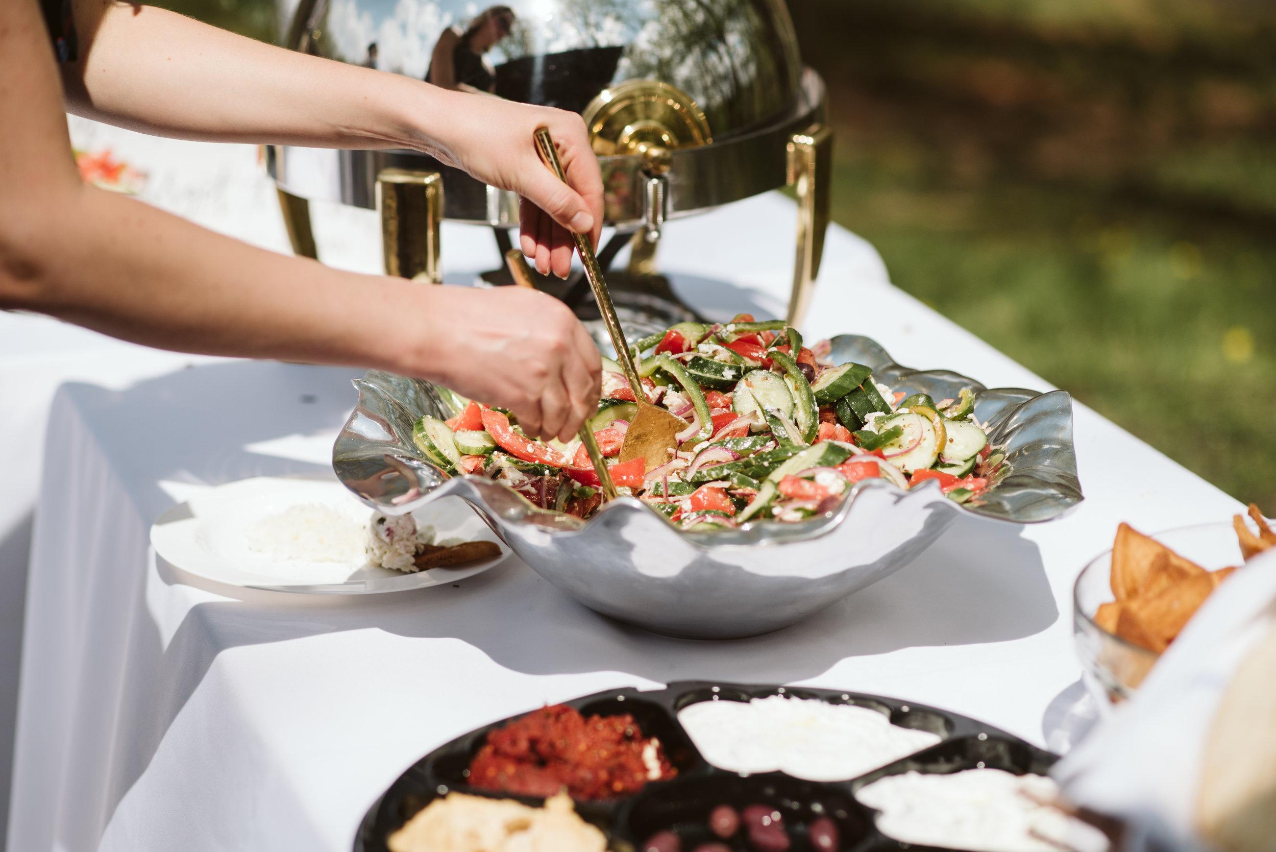 Spring Outdoor Wedding, Park, Baltimore Wedding Photographer, DIY, Classic, Upcycled, Garden Party, Romantic, Cava Mezze Caterer, Reception Food