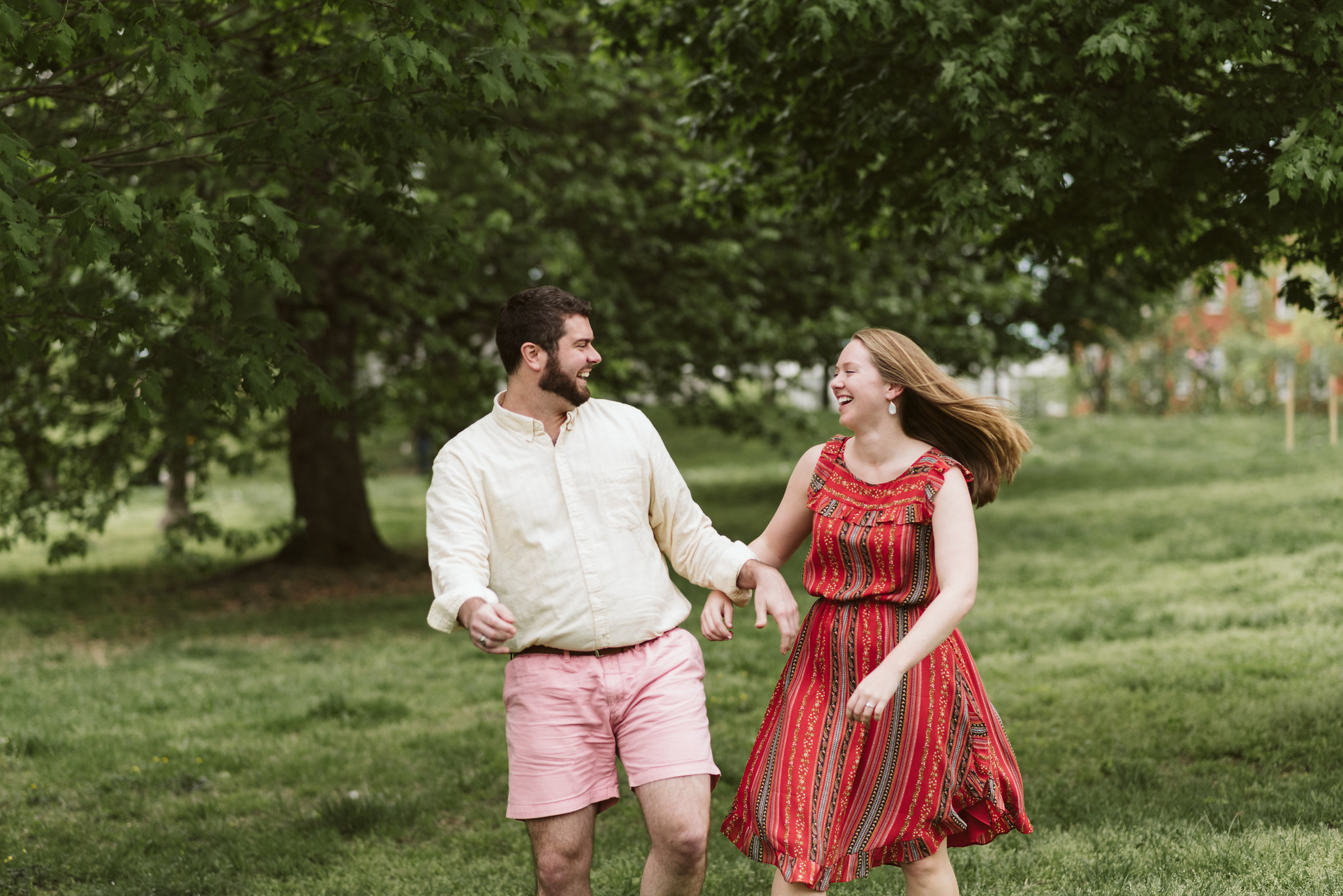Engagement Photos, Patterson Park, Baltimore, Maryland Wedding Photographer, Casual, Fun, Nature, Bride and Groom Having Fun in a Park, Sweet Candid Photo