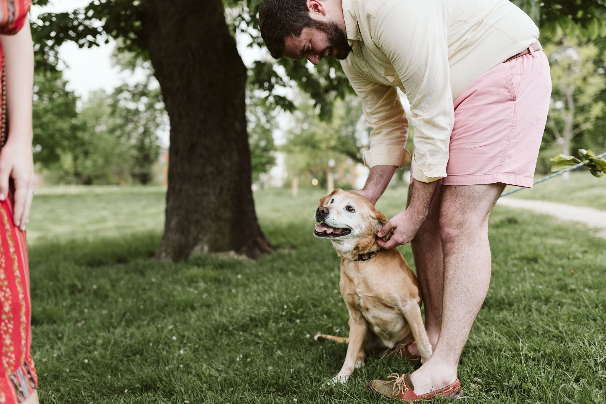Engagement Photos, Patterson Park, Baltimore, Maryland Wedding Photographer, Casual, Fun, Nature, Bride and Groom with Their Dog, Pets, Springtime