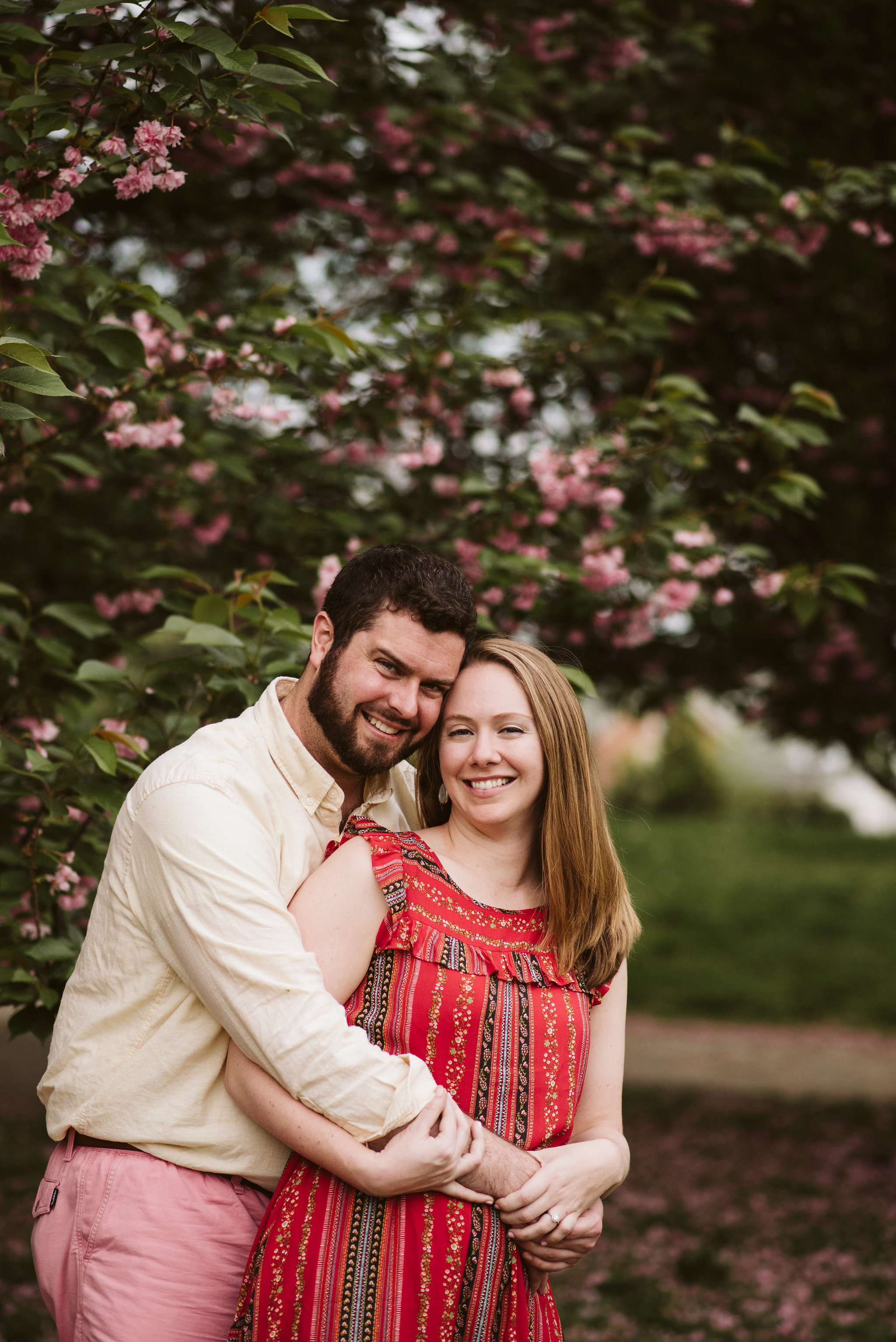 Engagement Photos, Patterson Park, Baltimore, Maryland Wedding Photographer, Casual, Fun, Nature, Portrait of Bride and Groom Under Flowering Tree, Crape Myrtle, Spring