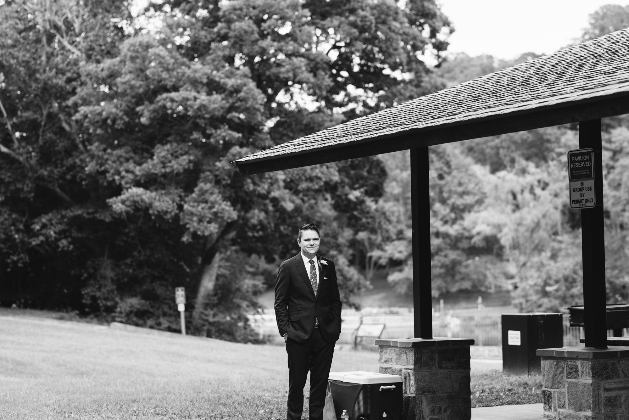 Pop-up Ceremony, Outdoor Wedding, Casual, Simple, Lake Roland, Baltimore, Maryland Wedding Photographer, Laid Back, Groom Waiting for Bride, Camp Wedding, Suit Supply, Black and White Photo