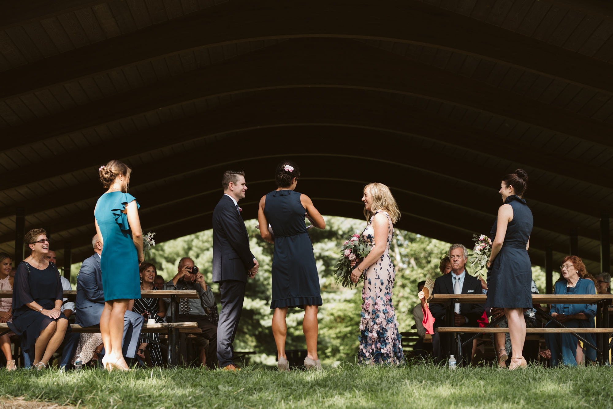 Pop-up Ceremony, Outdoor Wedding, Casual, Simple, Lake Roland, Baltimore, Maryland Wedding Photographer, Laid Back, DIY, Elegant Camp Pavilion,