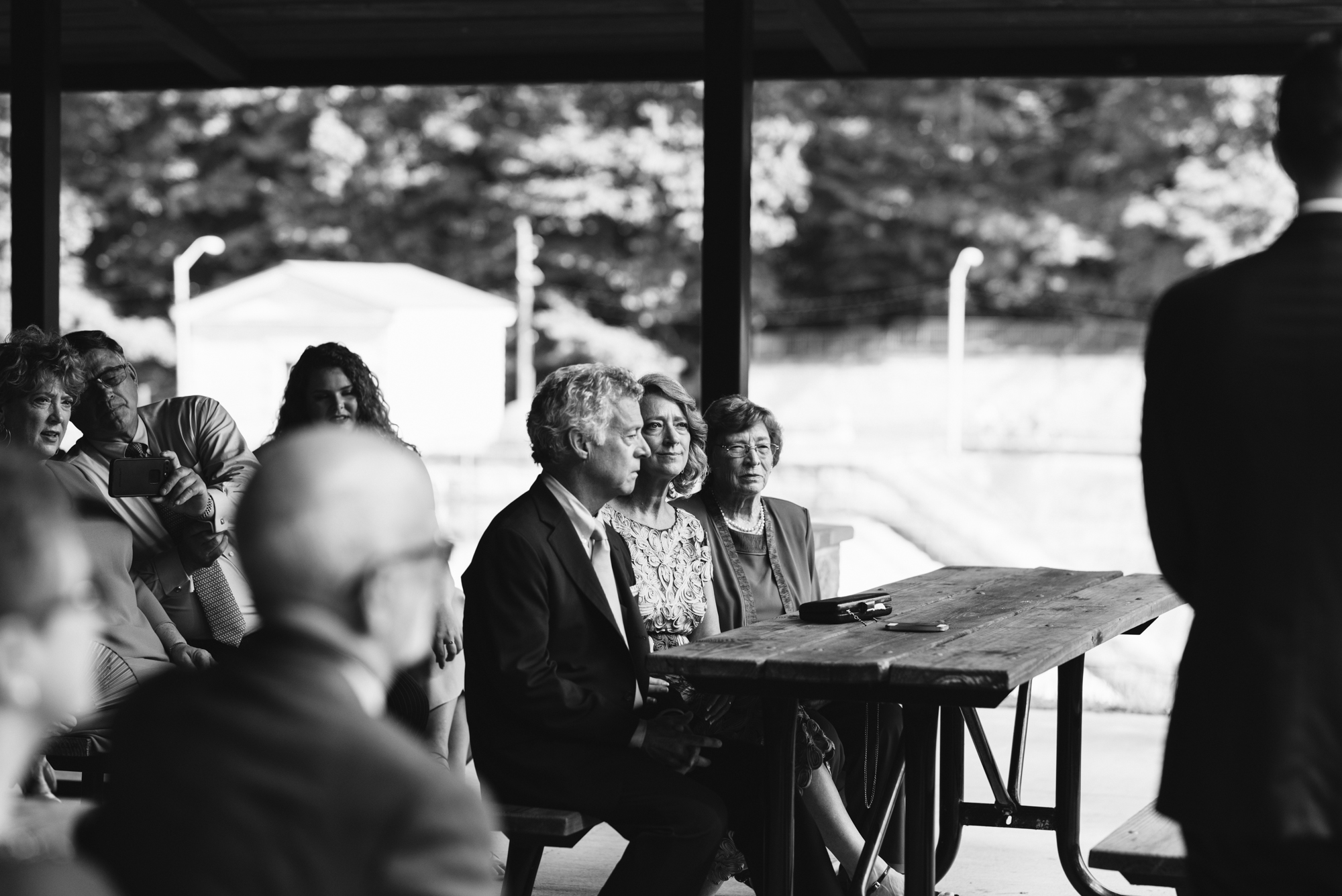 Pop-up Ceremony, Outdoor Wedding, Casual, Simple, Lake Roland, Baltimore, Maryland Wedding Photographer, Laid Back, DIY, Park Pavilion, Black and White Photo, Bride's Reactions During Ceremony