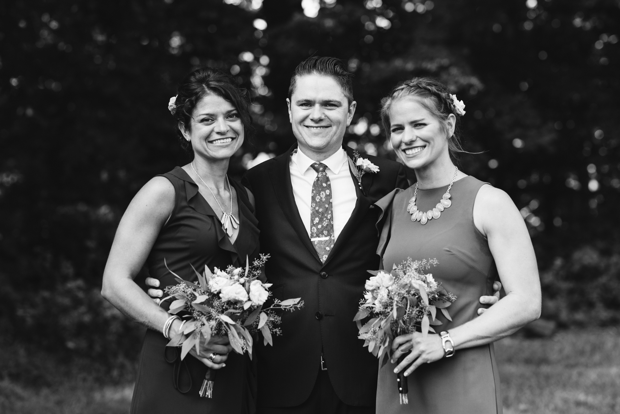 Pop-up Ceremony, Outdoor Wedding, Casual, Simple, Lake Roland, Baltimore, Maryland Wedding Photographer, Laid Back, September Wedding, Groom with Sisters, Black and White Photo