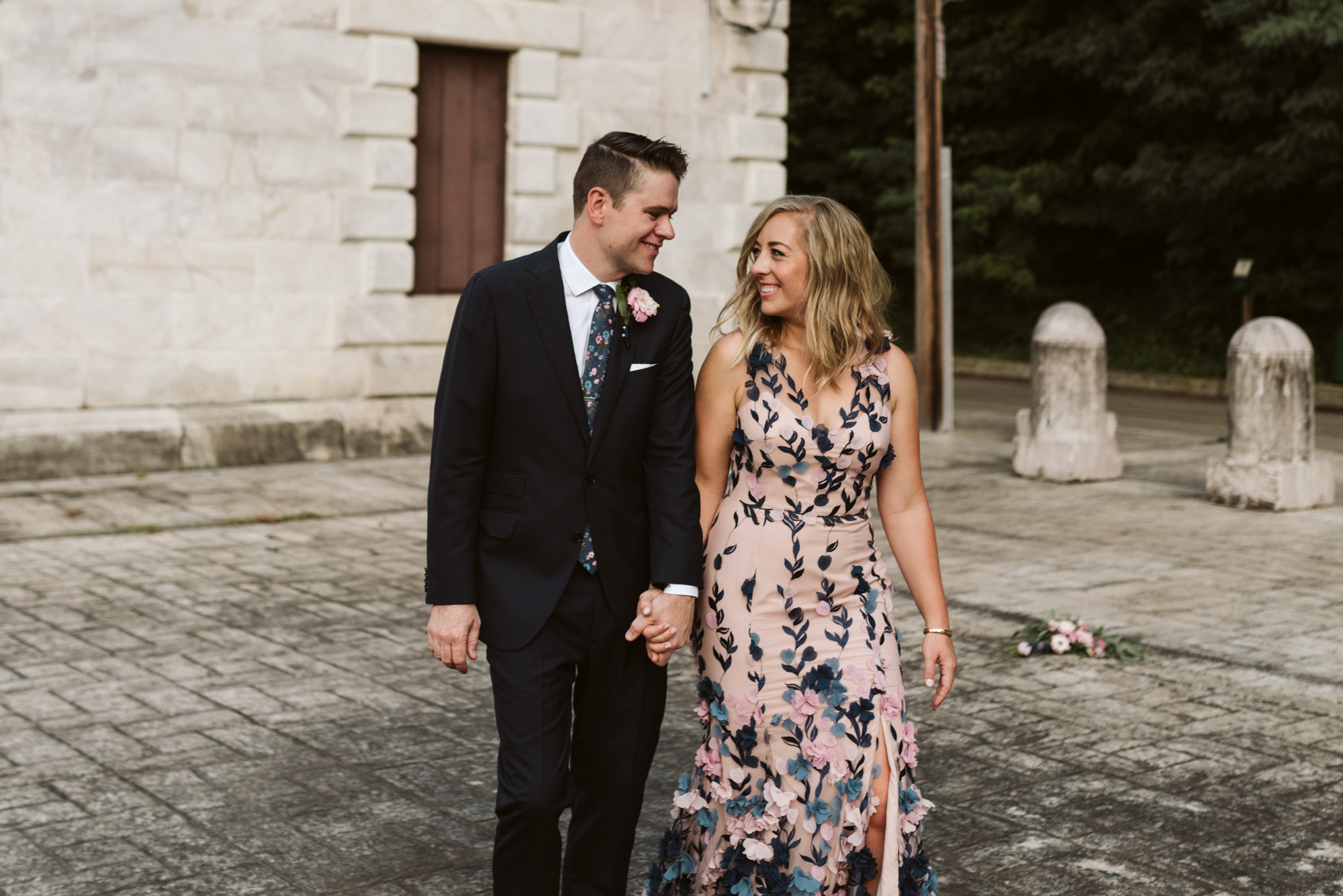 Pop-up Ceremony, Outdoor Wedding, Casual, Simple, Lake Roland, Baltimore, Maryland Wedding Photographer, Laid Back, Couple Walking and Laughing, Marchesa Notte Dress
