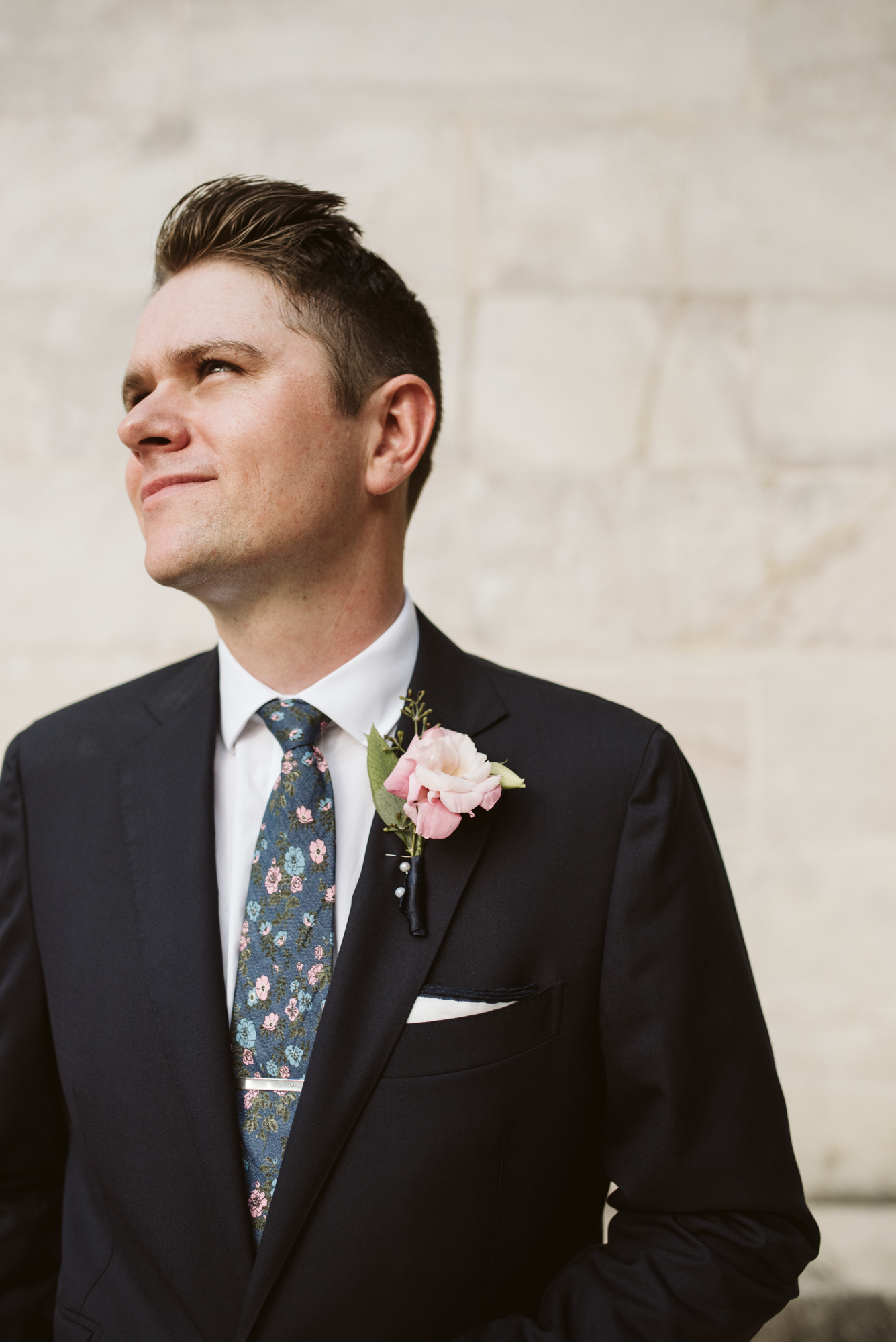 Pop-up Ceremony, Outdoor Wedding, Casual, Simple, Lake Roland, Baltimore, Maryland Wedding Photographer, Laid Back, Groom Portrait, Bonobos Tie, Suit Supply, DIY Flowers