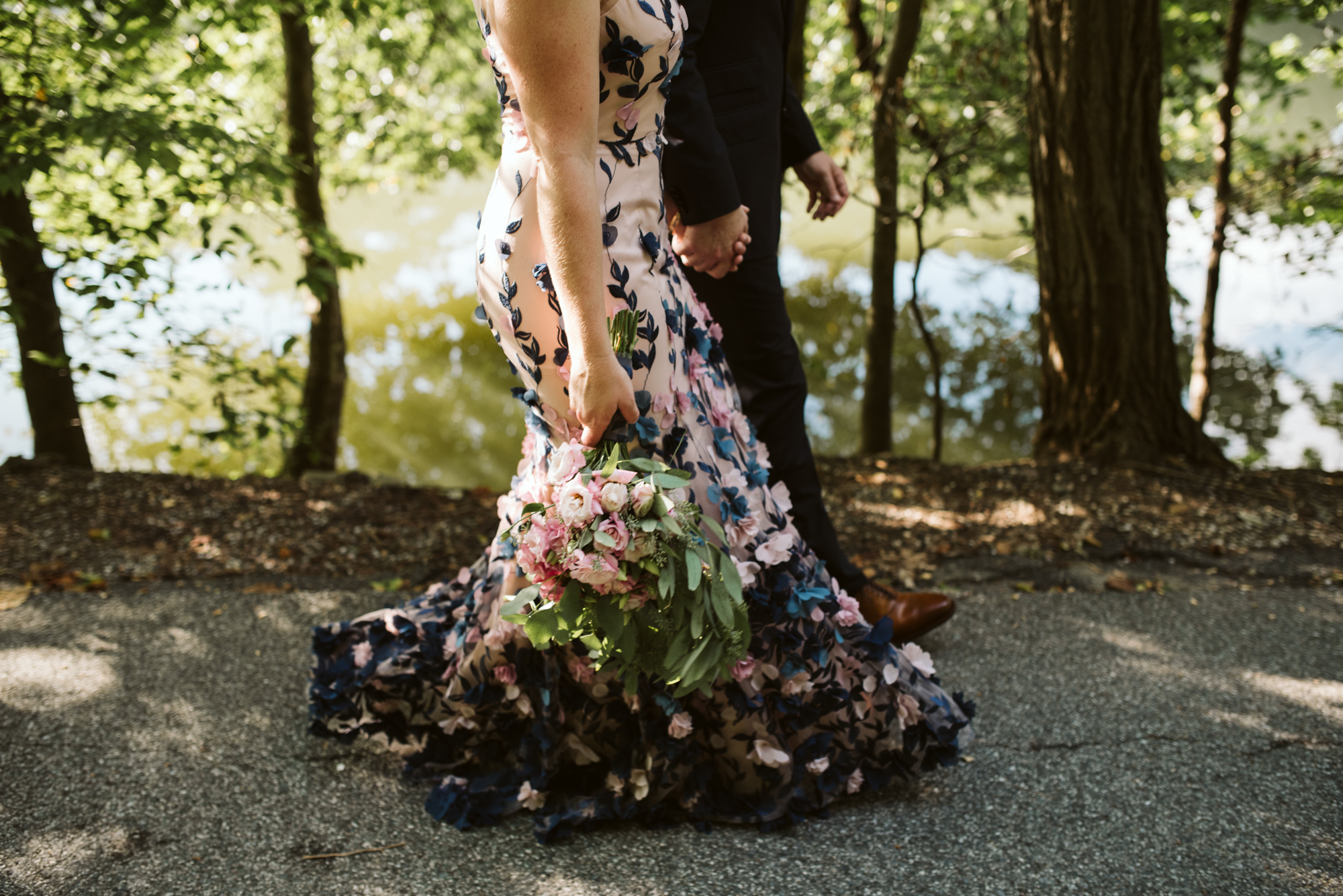 Pop-up Ceremony, Outdoor Wedding, Casual, Simple, Lake Roland, Baltimore, Maryland Wedding Photographer, Laid Back, Bride and Groom Walking, Marchesa Notte Dress, DIY Flowers