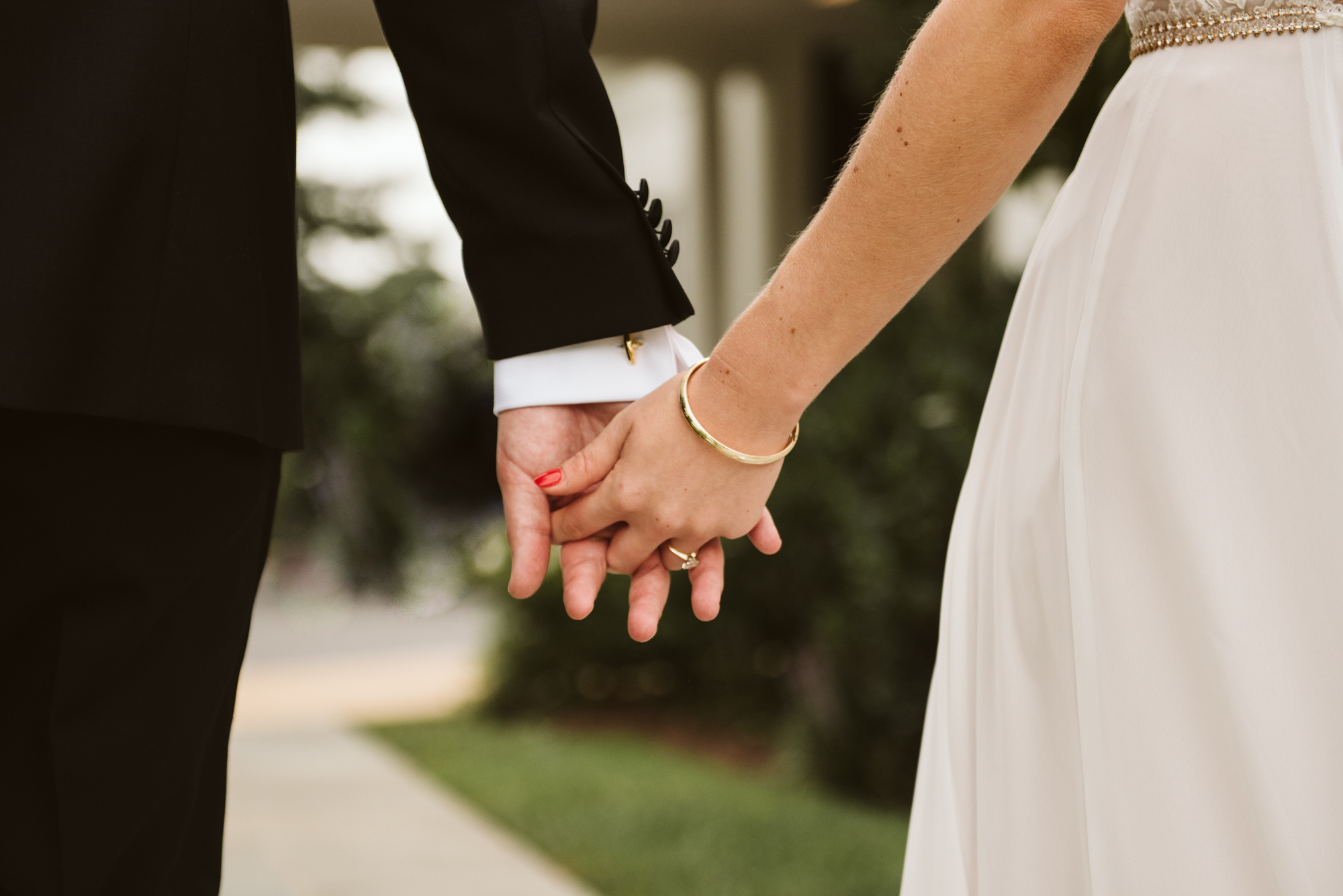 Elegant, Columbia Country Club, Chevy Chase Maryland, Baltimore Wedding Photographer, Classic, Traditional, Jewish Wedding, Couple Holding Hands, Wedding Jewelry, Boone & Sons Rings, Detail Photo