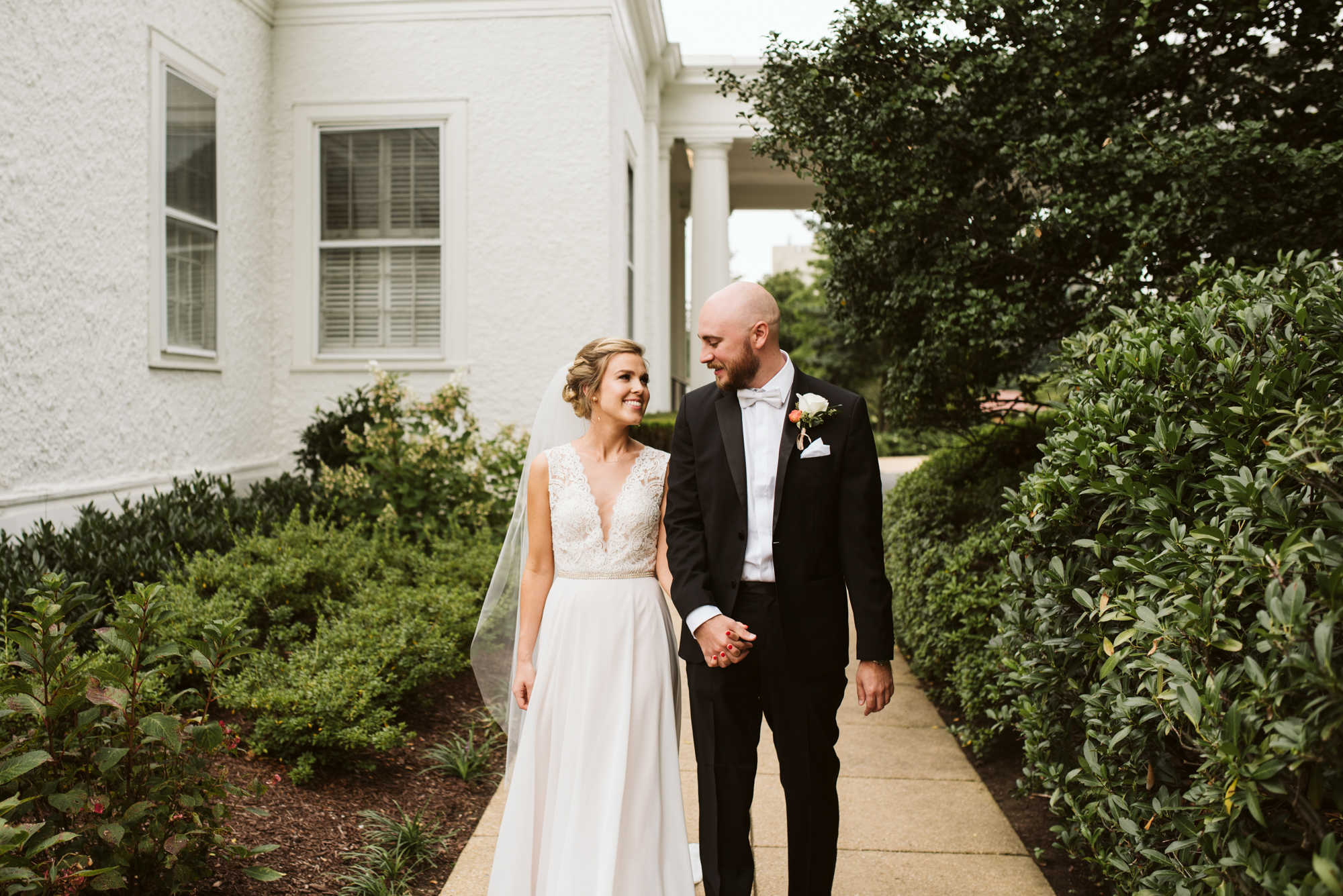 Elegant, Columbia Country Club, Chevy Chase Maryland, Baltimore Wedding Photographer, Classic, Traditional, Bride and Groom Holding Hands Walking, First Look Photo, BHLDN, Hugo Boss