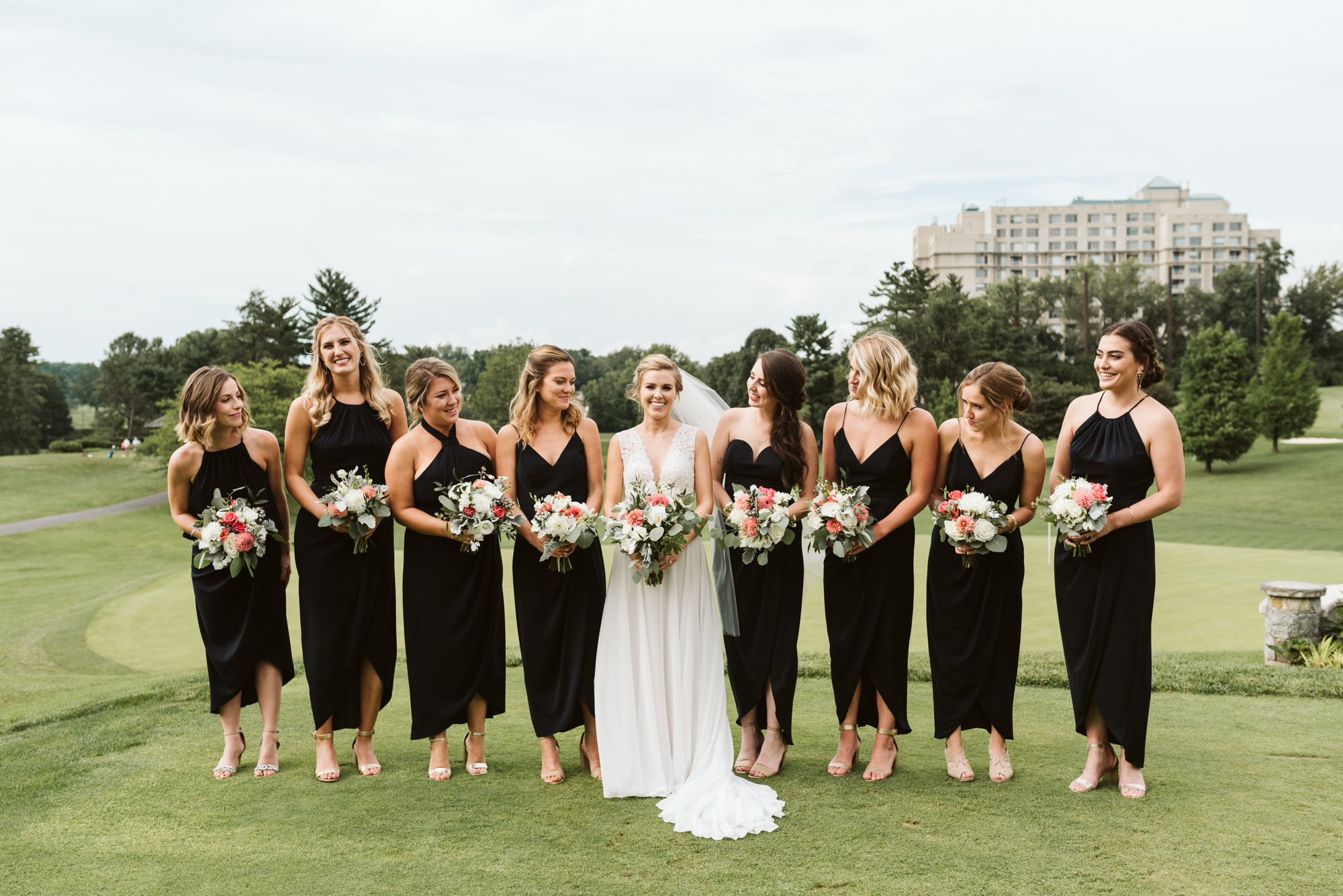 Elegant, Columbia Country Club, Chevy Chase Maryland, Baltimore Photographer, Classic, Bride with Bridesmaids, BHLDN Wedding Dress, Shona Joy Dresses, Meg Owen Floral Designs, Wes Anderson Style