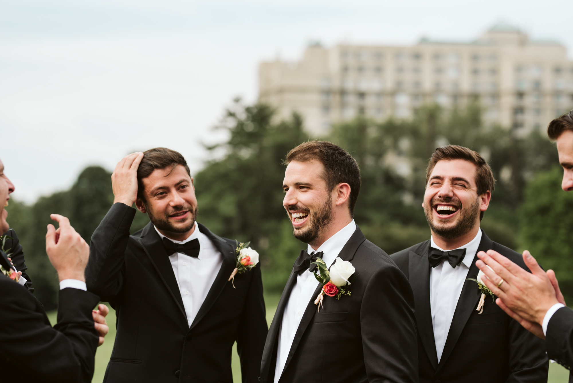 Elegant, Columbia Country Club, Chevy Chase Maryland, Baltimore Wedding Photographer, Classic, Traditional, Jewish Wedding, Groomsmen Laughing Before Ceremony, Candid Photo, Meg Owen Floral Designs
