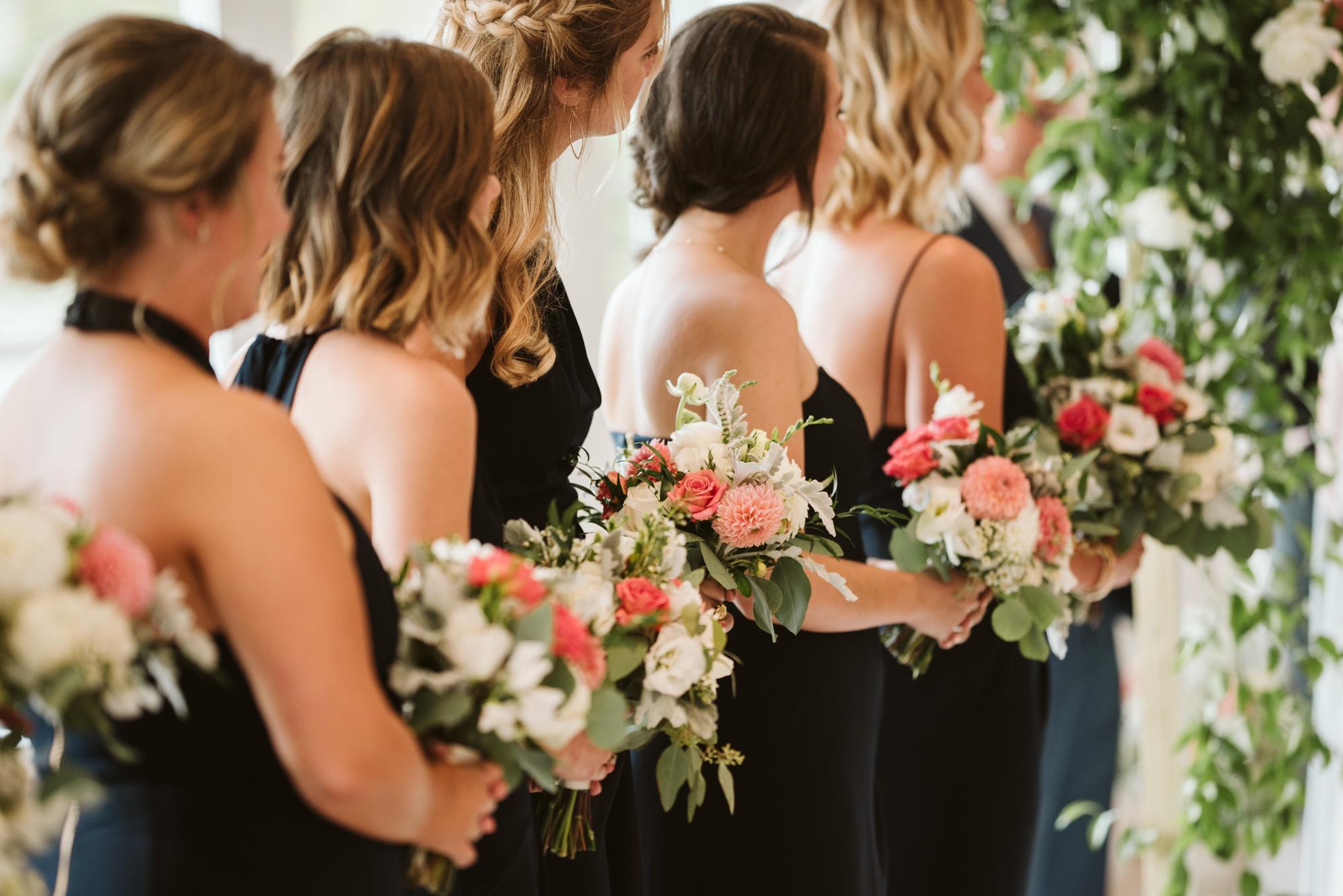 Elegant, Columbia Country Club, Chevy Chase Maryland, Baltimore Wedding Photographer, Classic, Traditional, Jewish Wedding, Bridesmaids with Black Shona Joy Dresses, Meg Owen Floral Designs