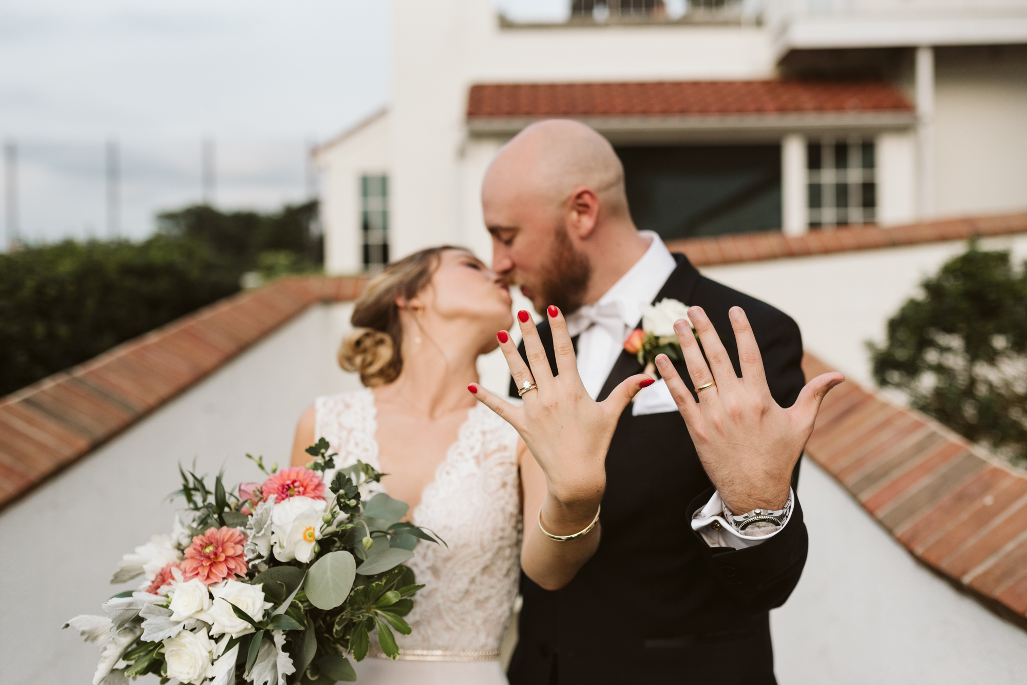 Elegant, Columbia Country Club, Chevy Chase Maryland, Baltimore Wedding Photographer, Classic, Bride and groom Kissing and Showing Off Boone & Sons Rings