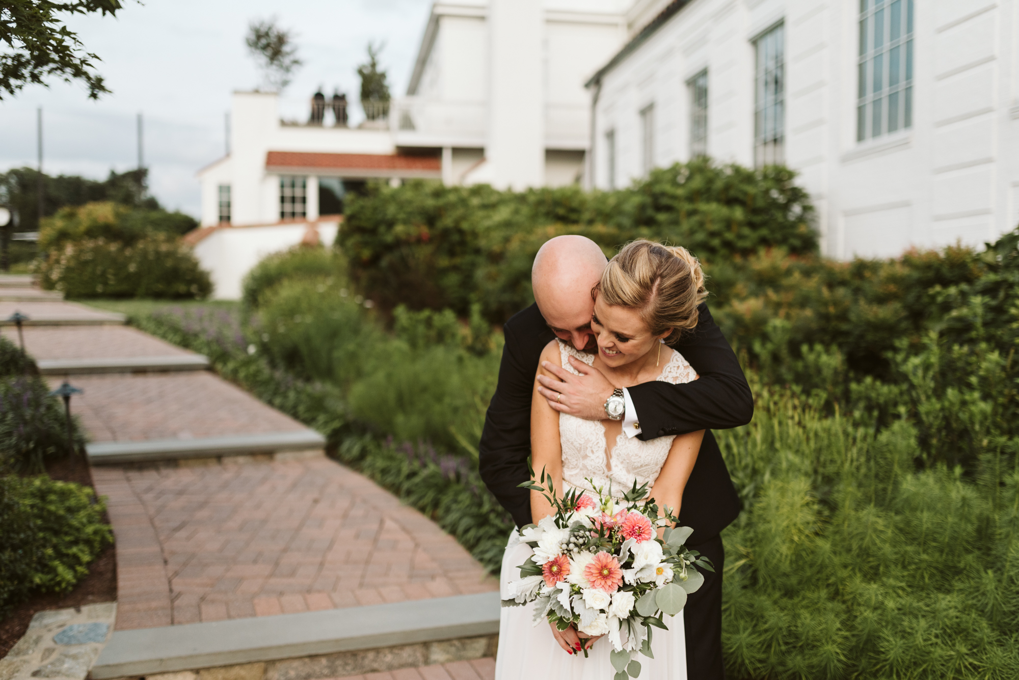 Elegant, Columbia Country Club, Chevy Chase Maryland, Baltimore Wedding Photographer, Classic, Traditional, Groom Holding Bride from Behind, Happy Couple, Meg Owen Floral Designs