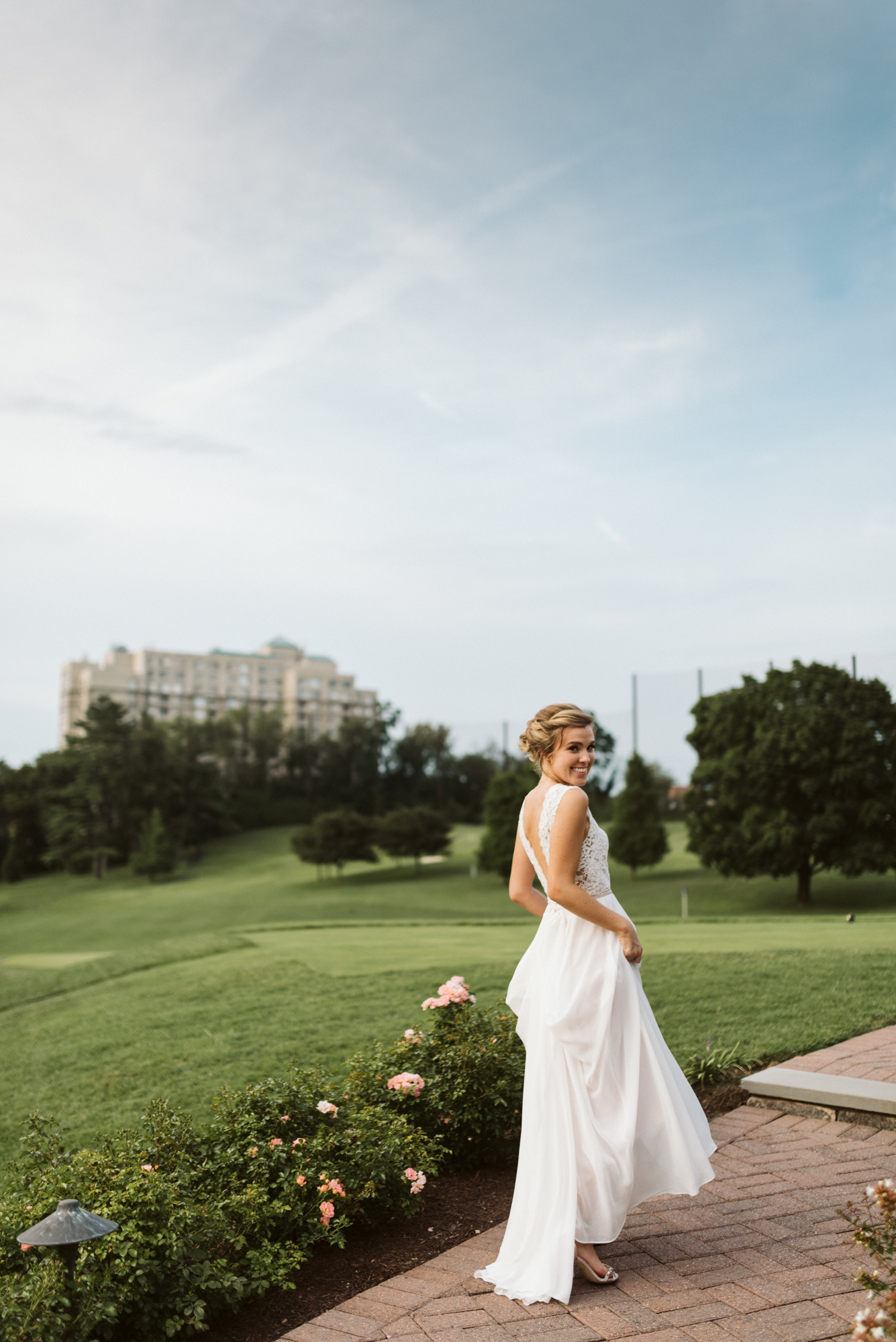 Elegant, Columbia Country Club, Chevy Chase Maryland, Baltimore Wedding Photographer, Classic, Traditional, Beautiful Bride Walking Down Path at Sunset, BHLDN Wedding Dress